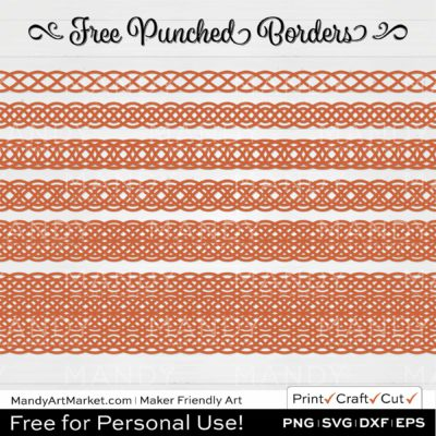 Terracotta Orange Punched Border Braids Graphics on White Background
