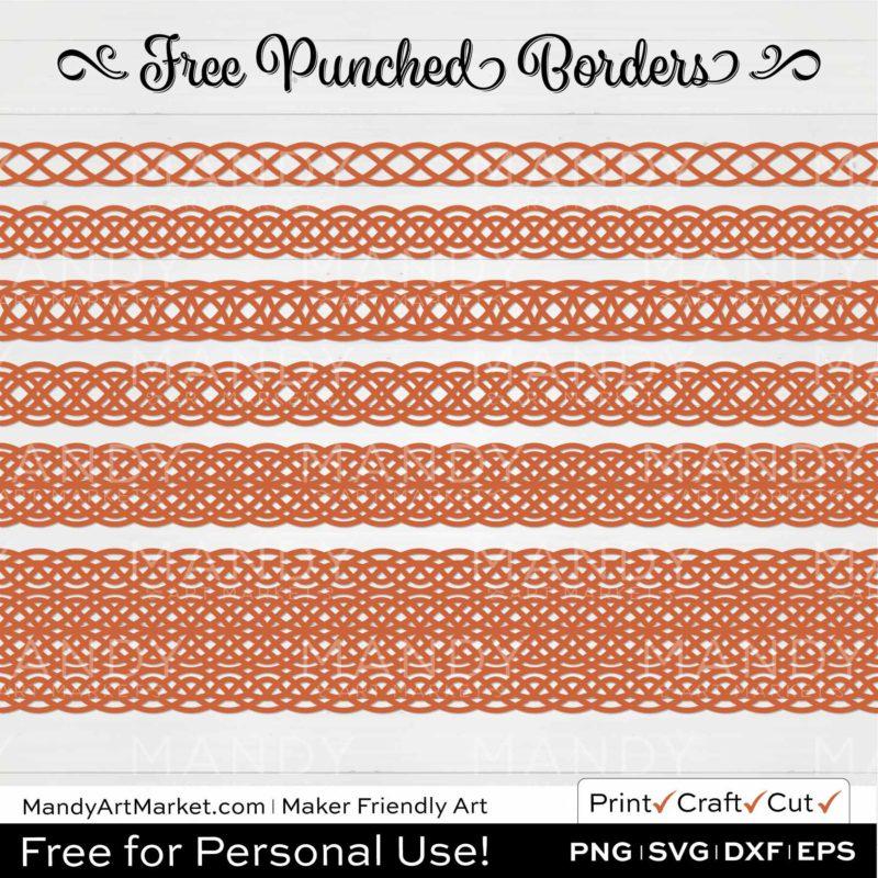 Terracotta Orange Punched Border Braids Graphics on White Background