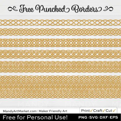 Wheat Yellow Punched Border Braids Graphics on White Background