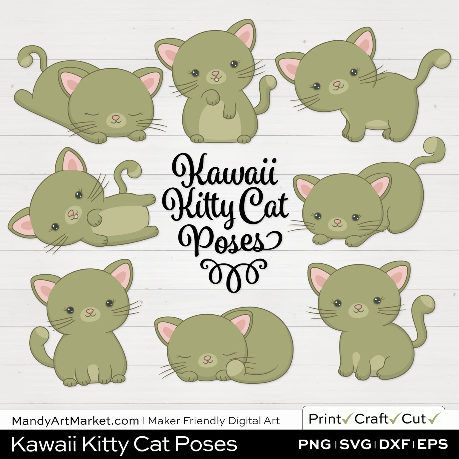 Army Green Kawaii Kitty Cat Poses Clipart on White Background