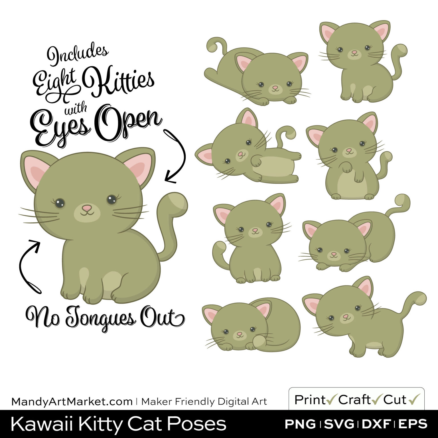 Army Green Kawaii Kitty Cat Poses Clipart on Wood Background