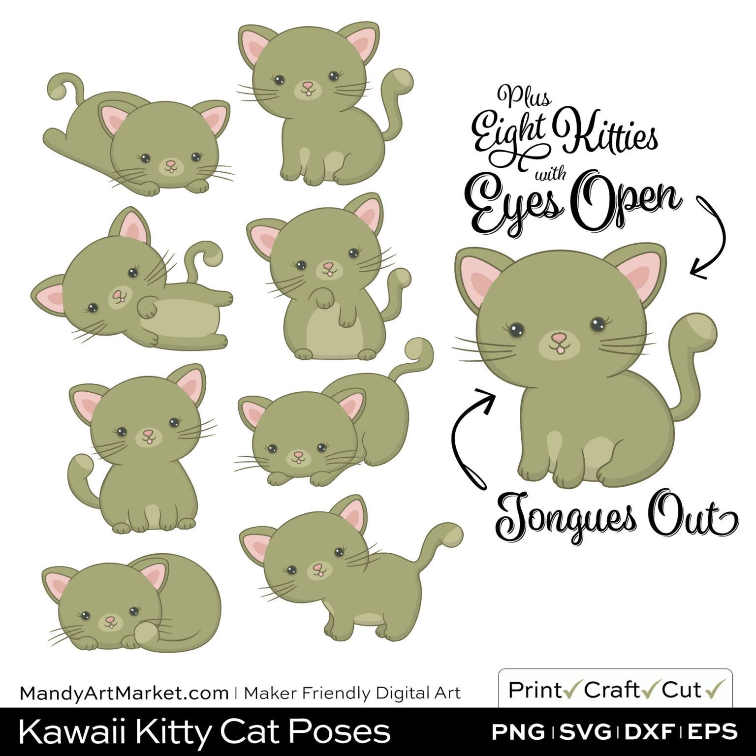 Army Green Kawaii Kitty Cat Poses Clipart Examples