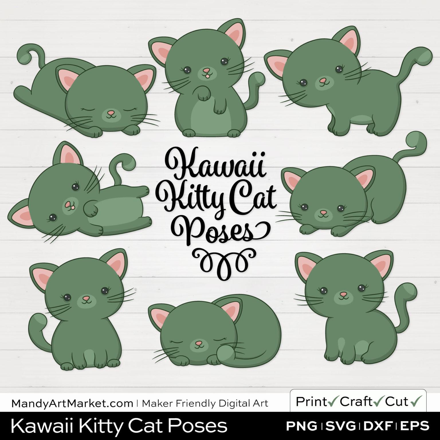 Artichoke Green Kawaii Kitty Cat Poses Clipart on White Background