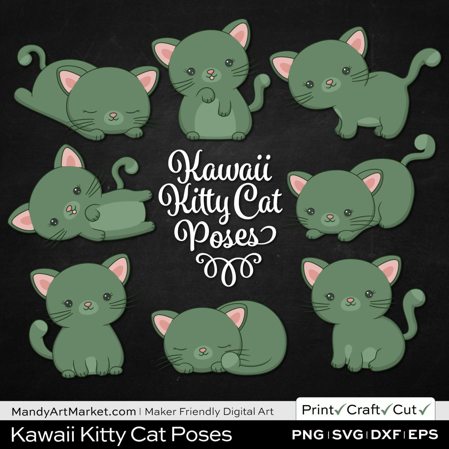Artichoke Green Kawaii Kitty Cat Poses Clipart on Black Background