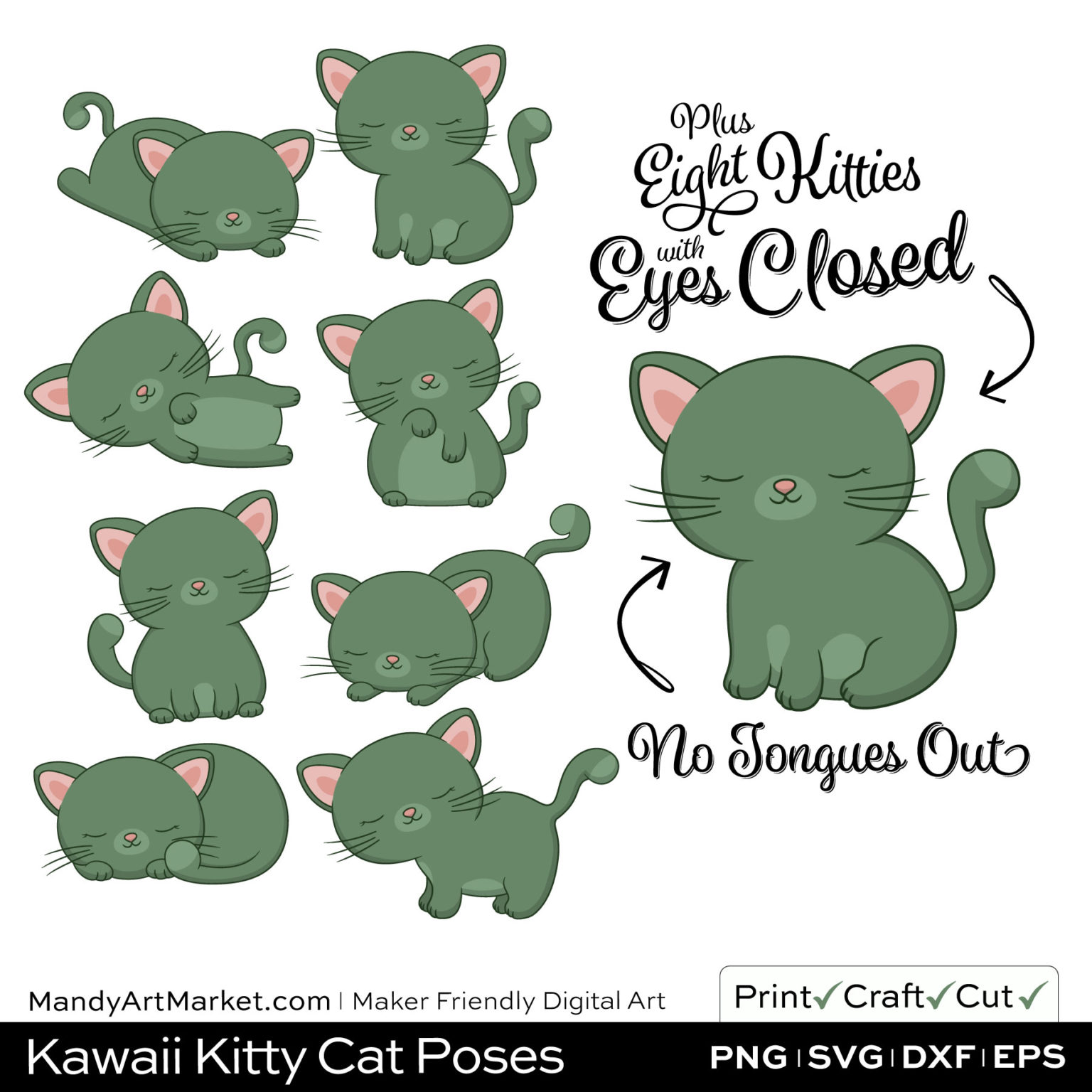 Artichoke Green Kawaii Kitty Cat Poses Clipart PNGs Included in Download