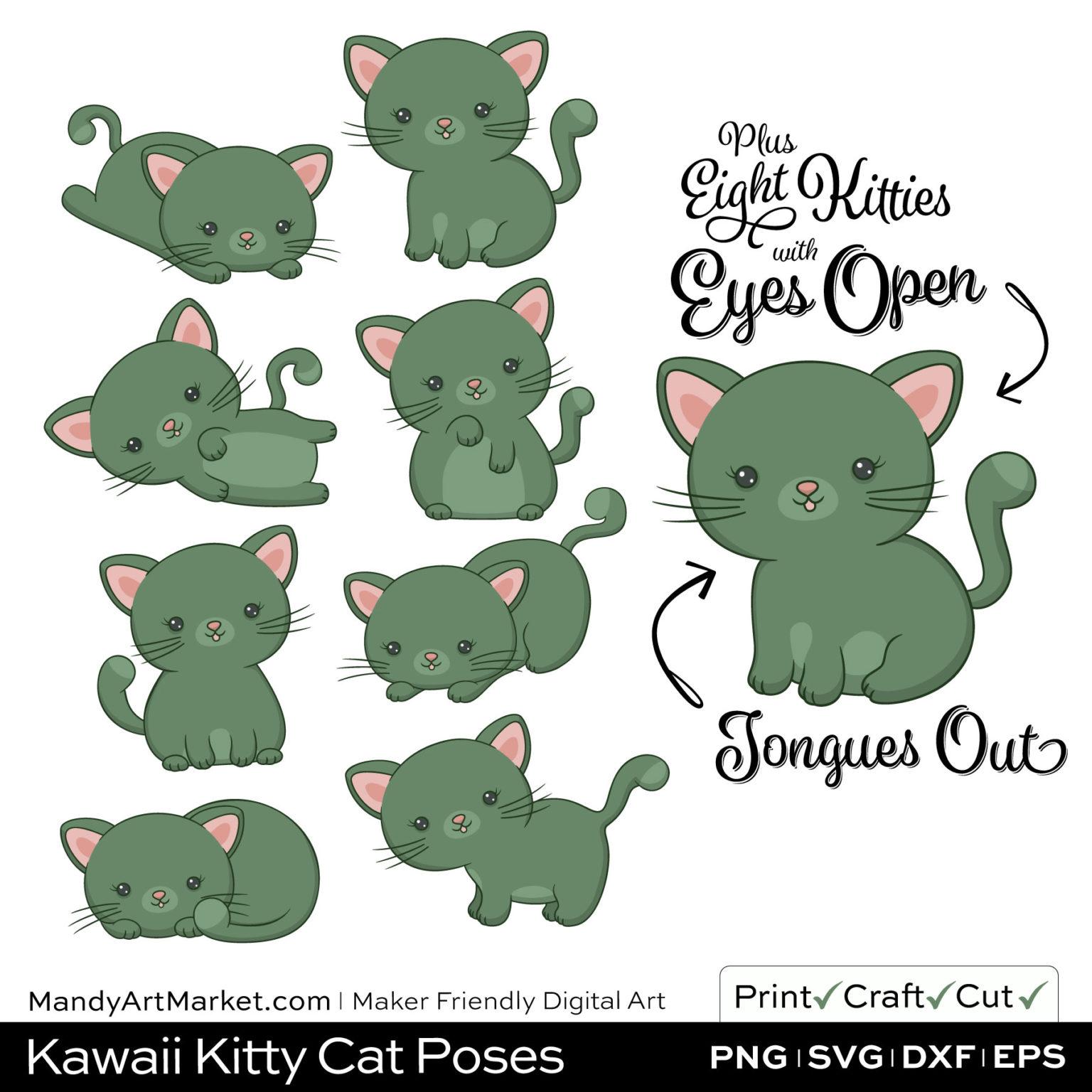 Artichoke Green Kawaii Kitty Cat Poses Clipart Examples