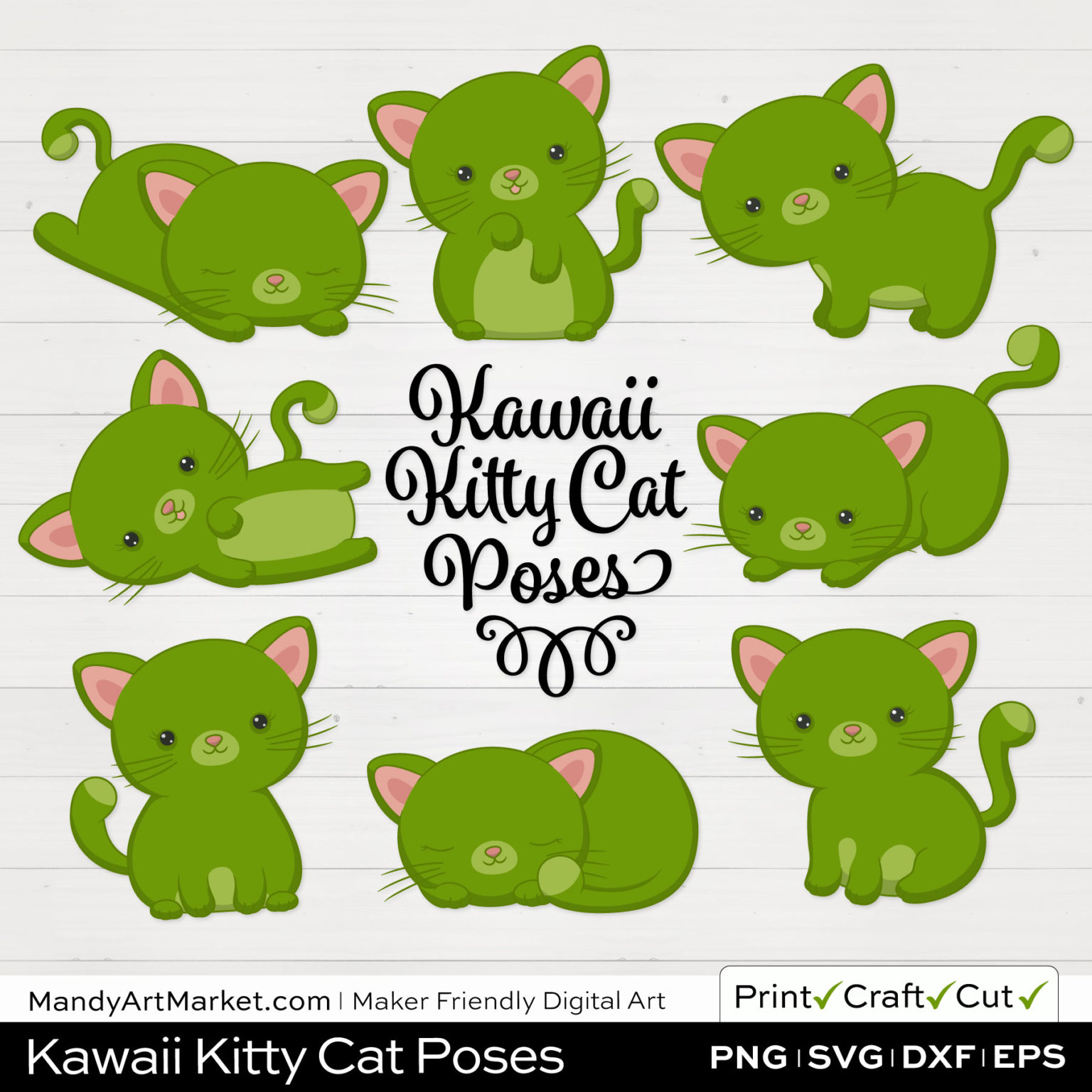 Bamboo Green Kawaii Kitty Cat Poses Clipart on White Background