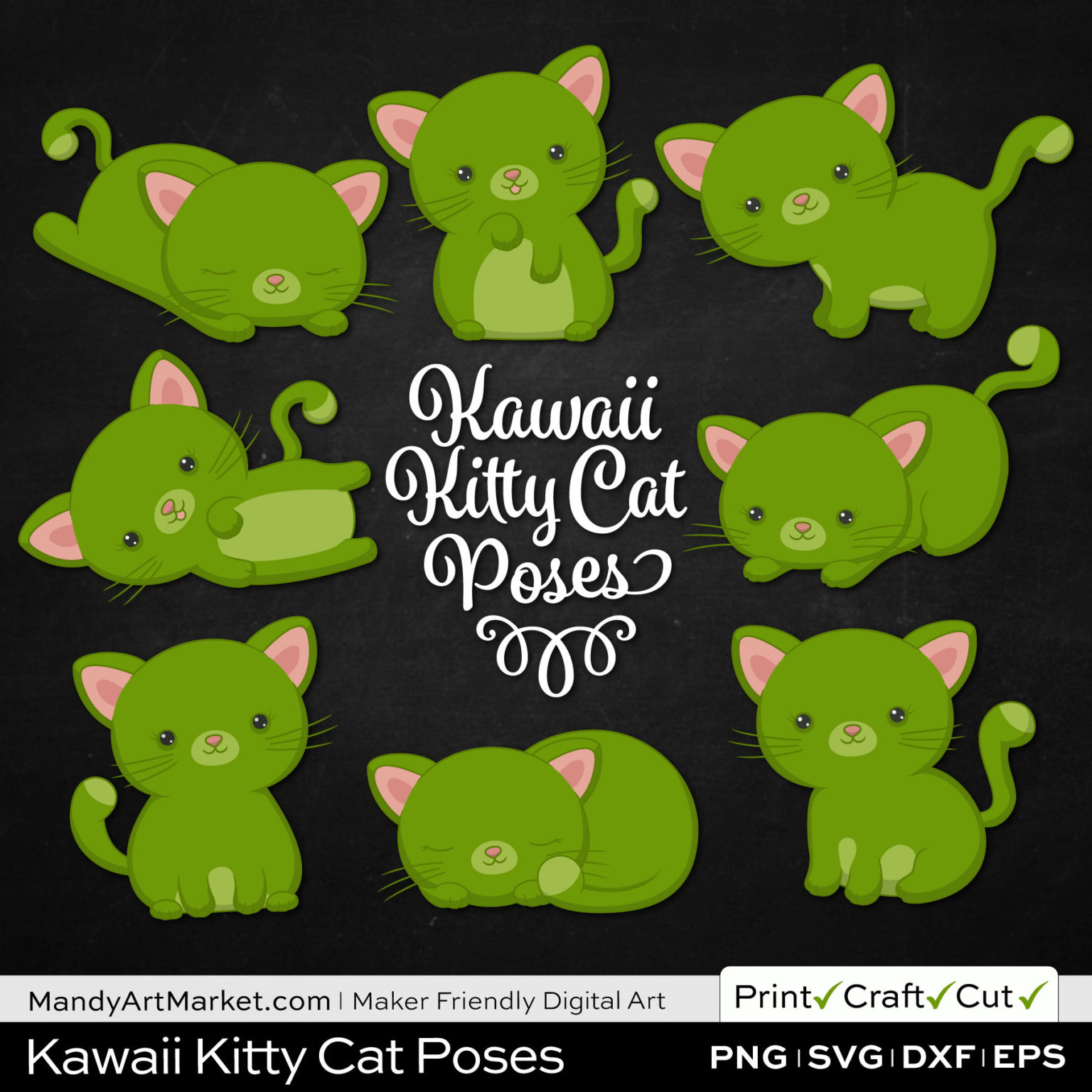 Bamboo Green Kawaii Kitty Cat Poses Clipart on Black Background