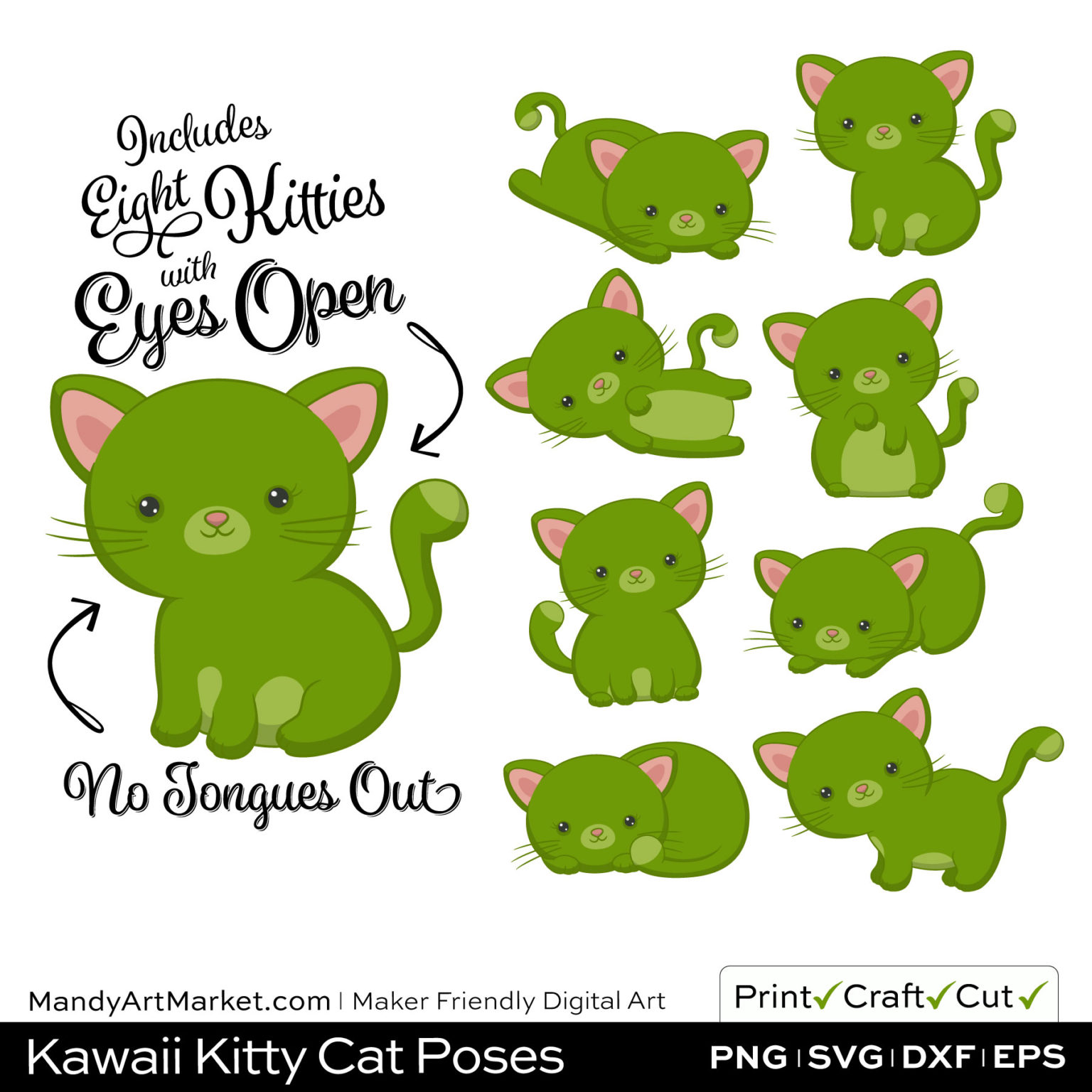 Bamboo Green Kawaii Kitty Cat Poses Clipart on Wood Background