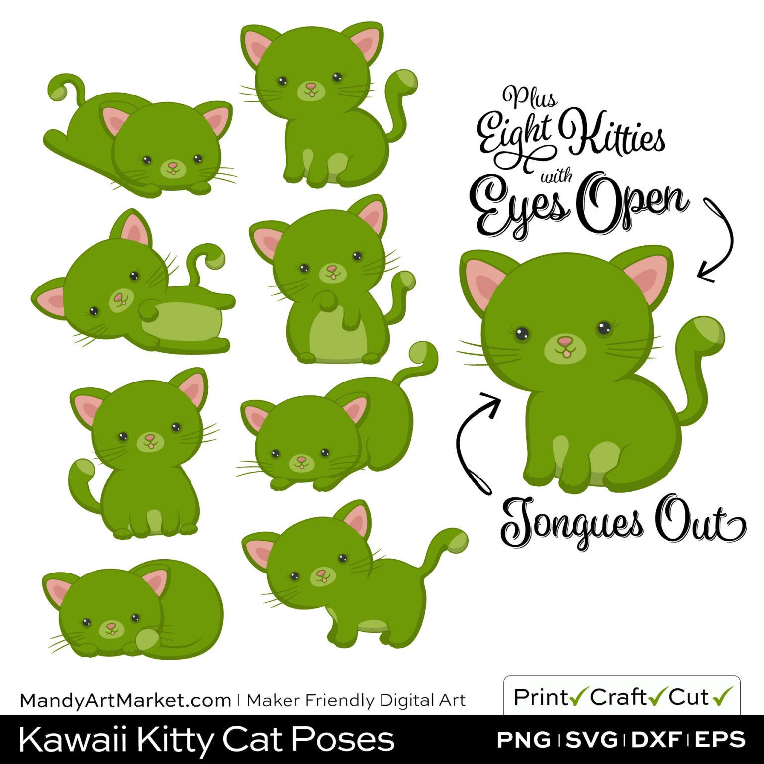 Bamboo Green Kawaii Kitty Cat Poses Clipart Examples