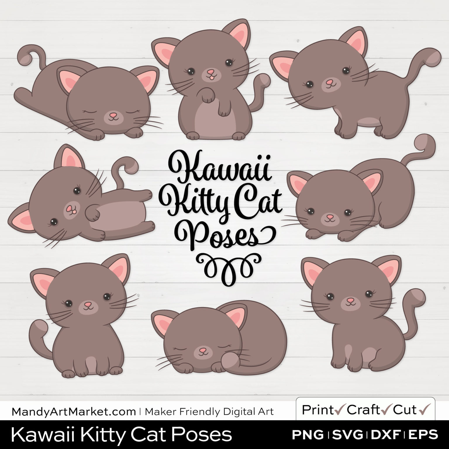 Barnboard Brown Kawaii Kitty Cat Poses Clipart on White Background
