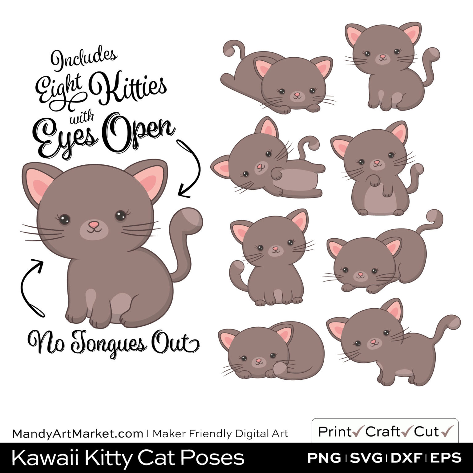 Barnboard Brown Kawaii Kitty Cat Poses Clipart on Wood Background