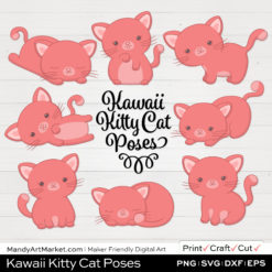 Blush Pink Kawaii Kitty Cat Poses Clipart on White Background
