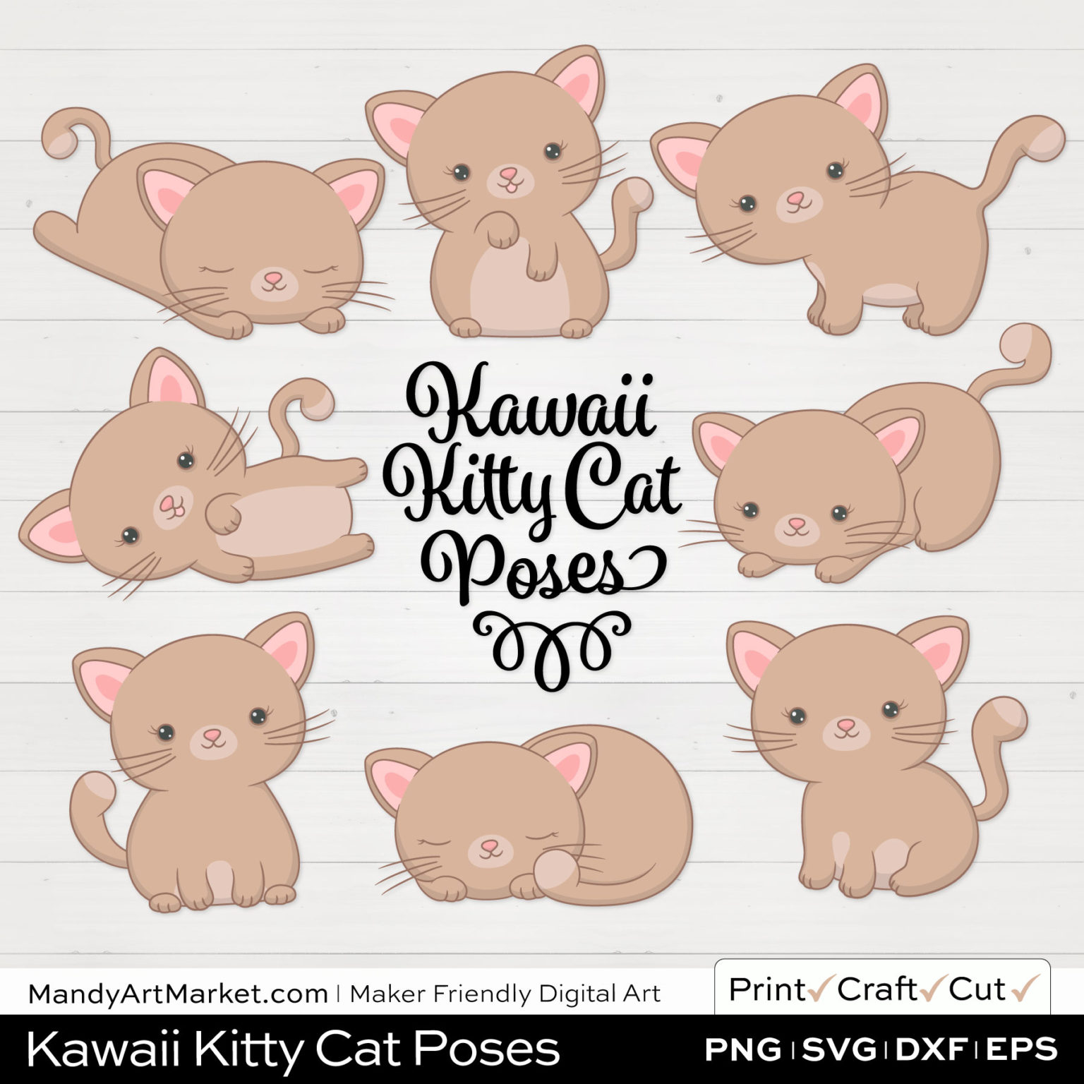Caramel Ecru Kawaii Kitty Cat Poses Clipart on White Background