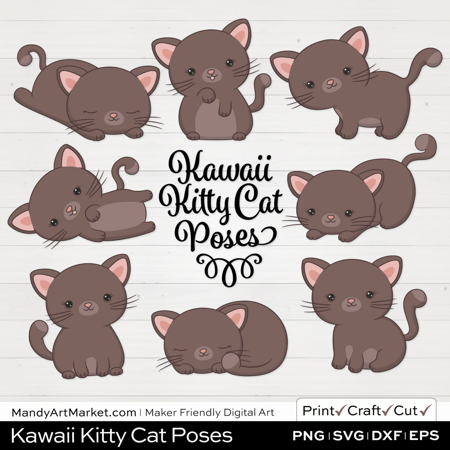 Cedar Brown Kawaii Kitty Cat Poses Clipart on White Background