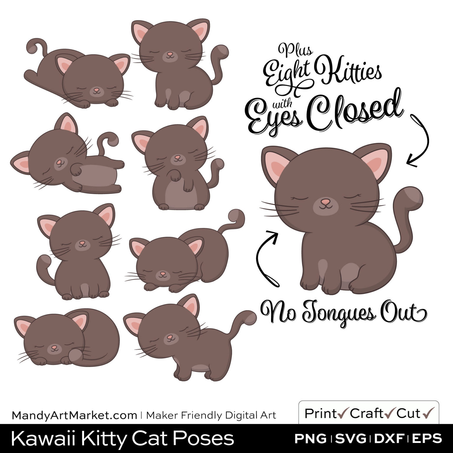 Cedar Brown Kawaii Kitty Cat Poses Clipart PNGs Included in Download