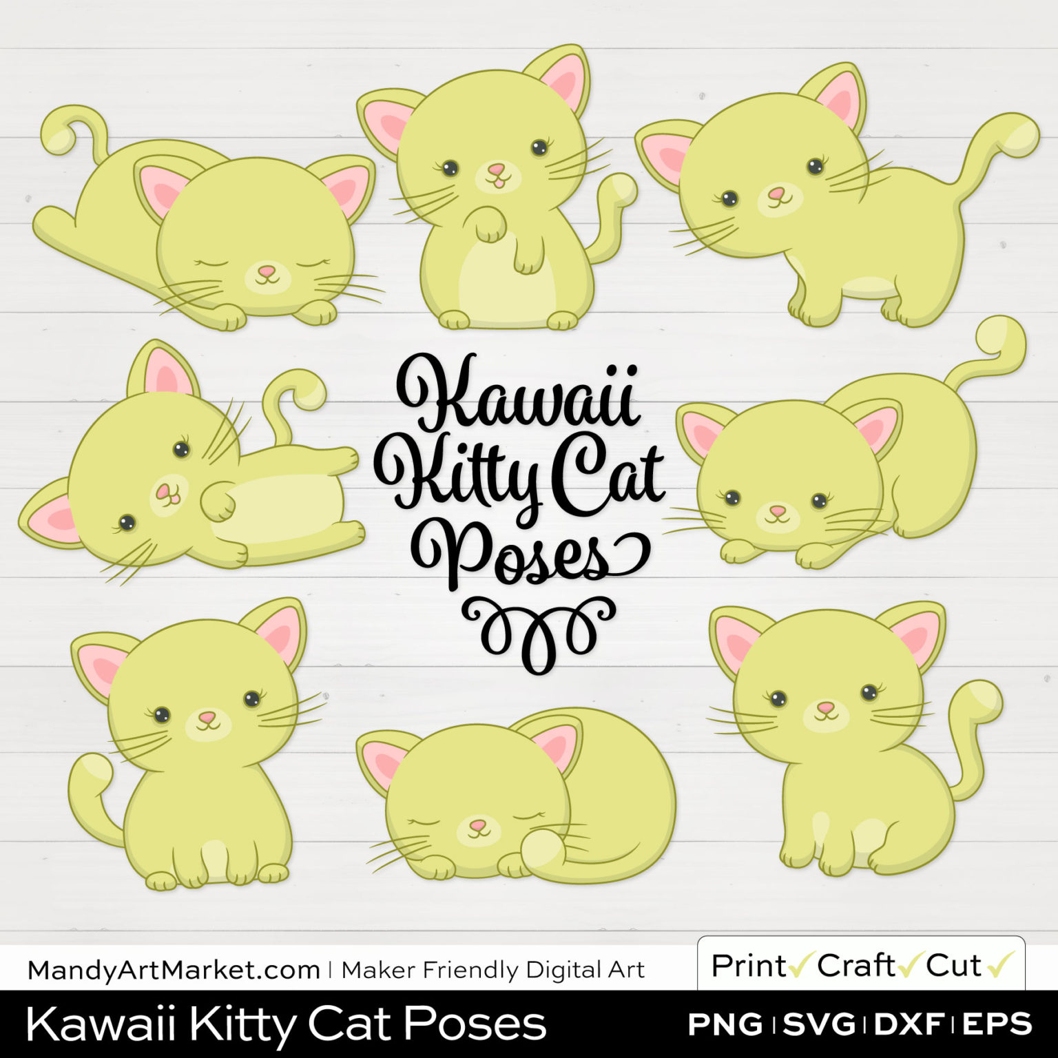 Celery Green Kawaii Kitty Cat Poses Clipart on White Background