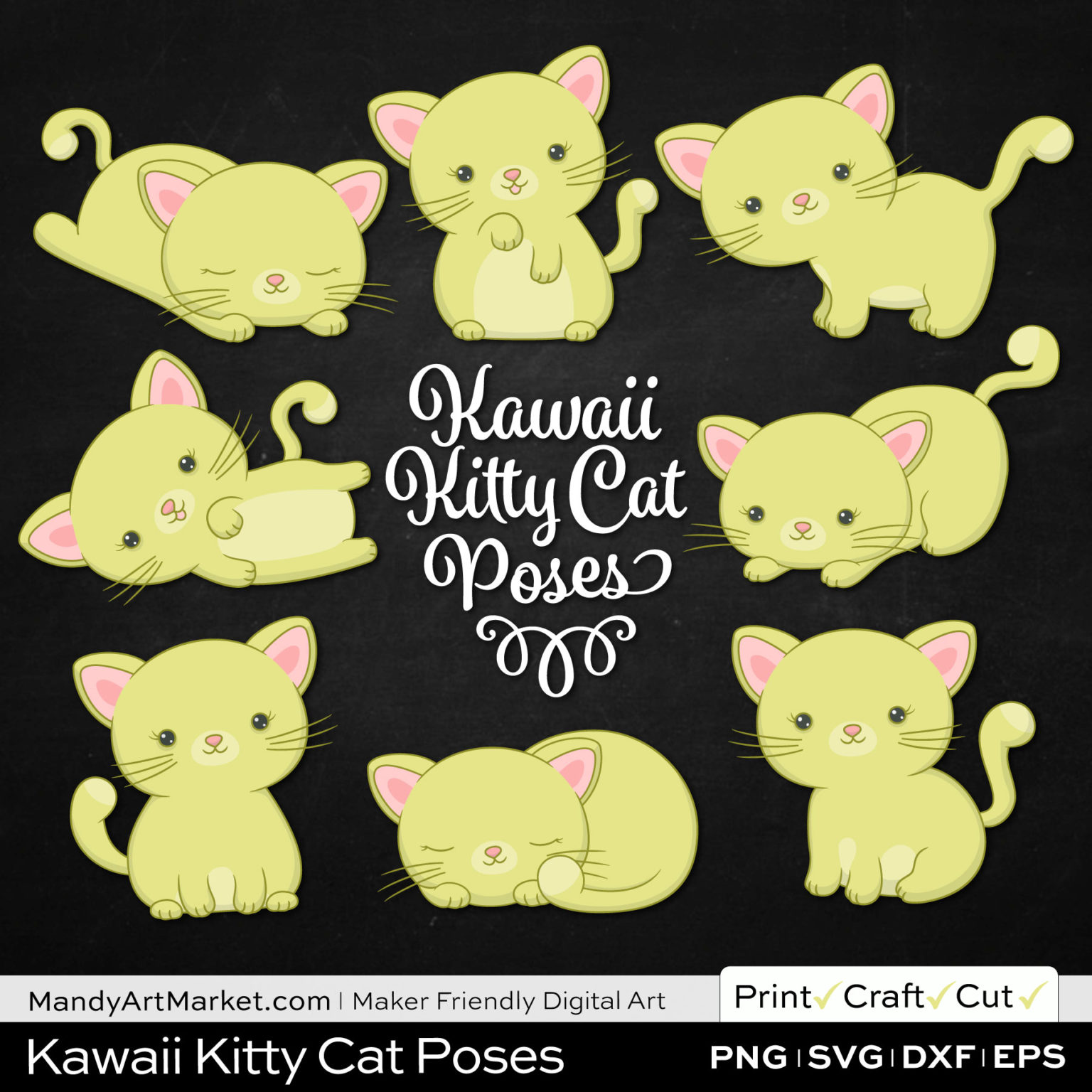 Celery Green Kawaii Kitty Cat Poses Clipart on Black Background