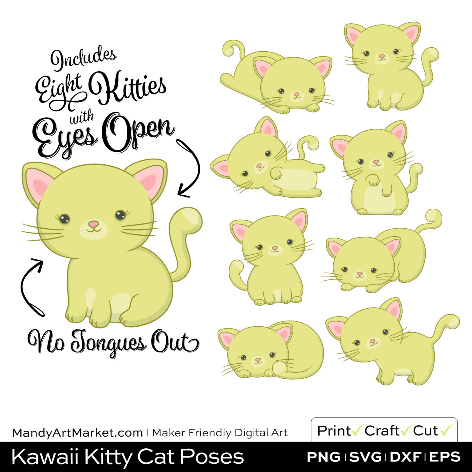 Celery Green Kawaii Kitty Cat Poses Clipart on Wood Background