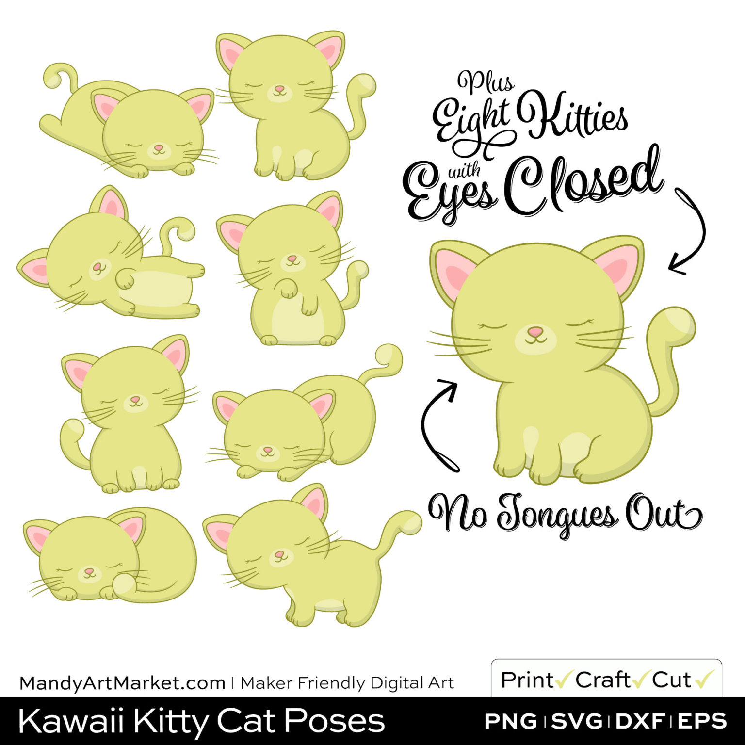 Celery Green Kawaii Kitty Cat Poses Clipart PNGs Included in Download