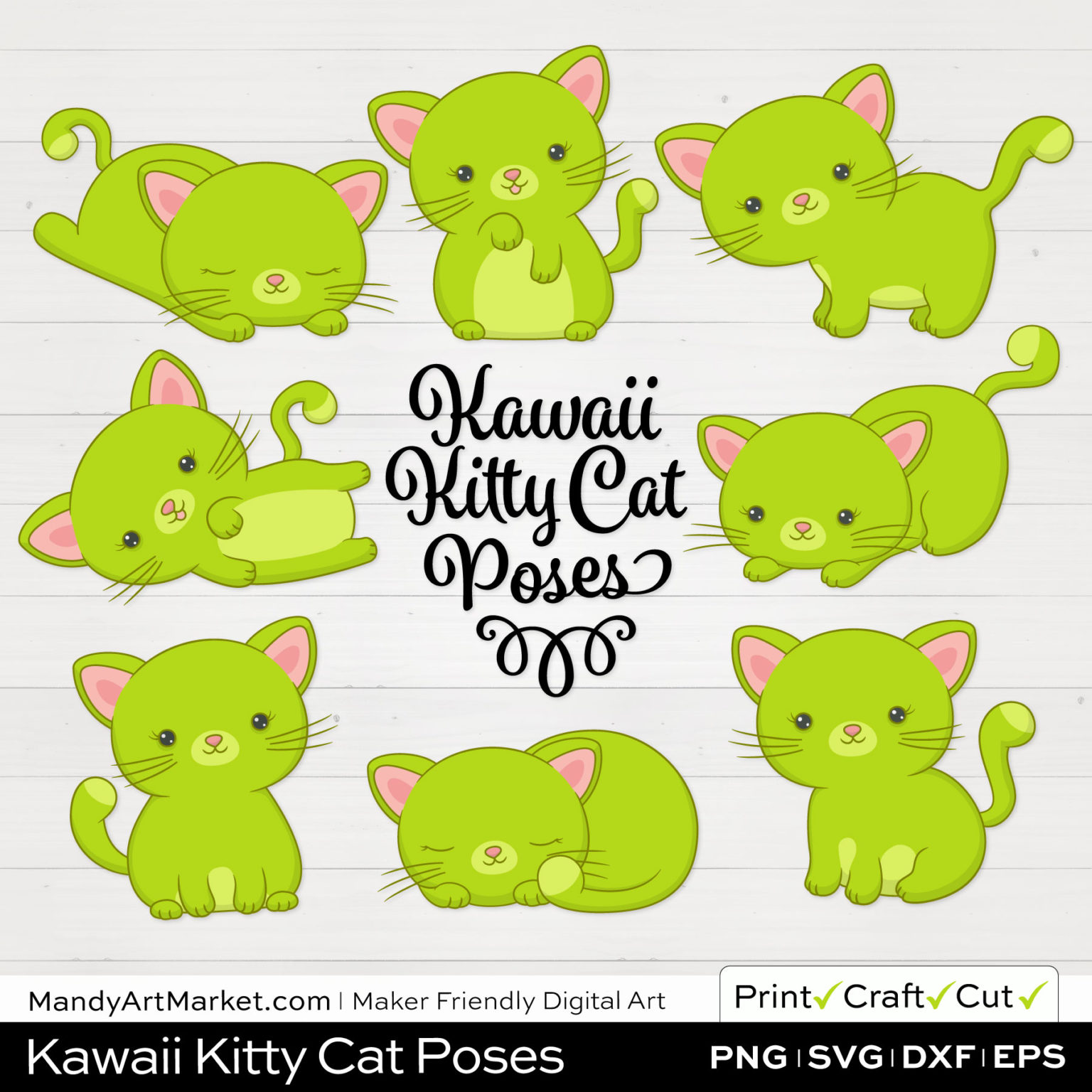 Chartreuse Green Kawaii Kitty Cat Poses Clipart on White Background