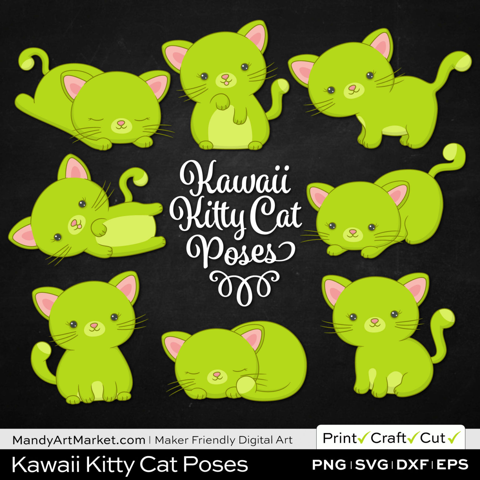 Chartreuse Green Kawaii Kitty Cat Poses Clipart on Black Background