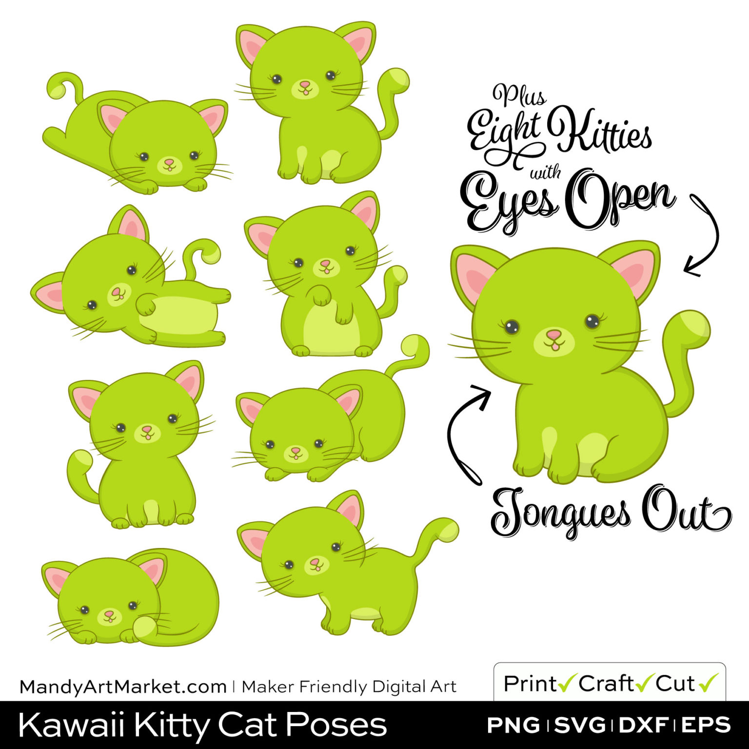 Chartreuse Green Kawaii Kitty Cat Poses Clipart Examples