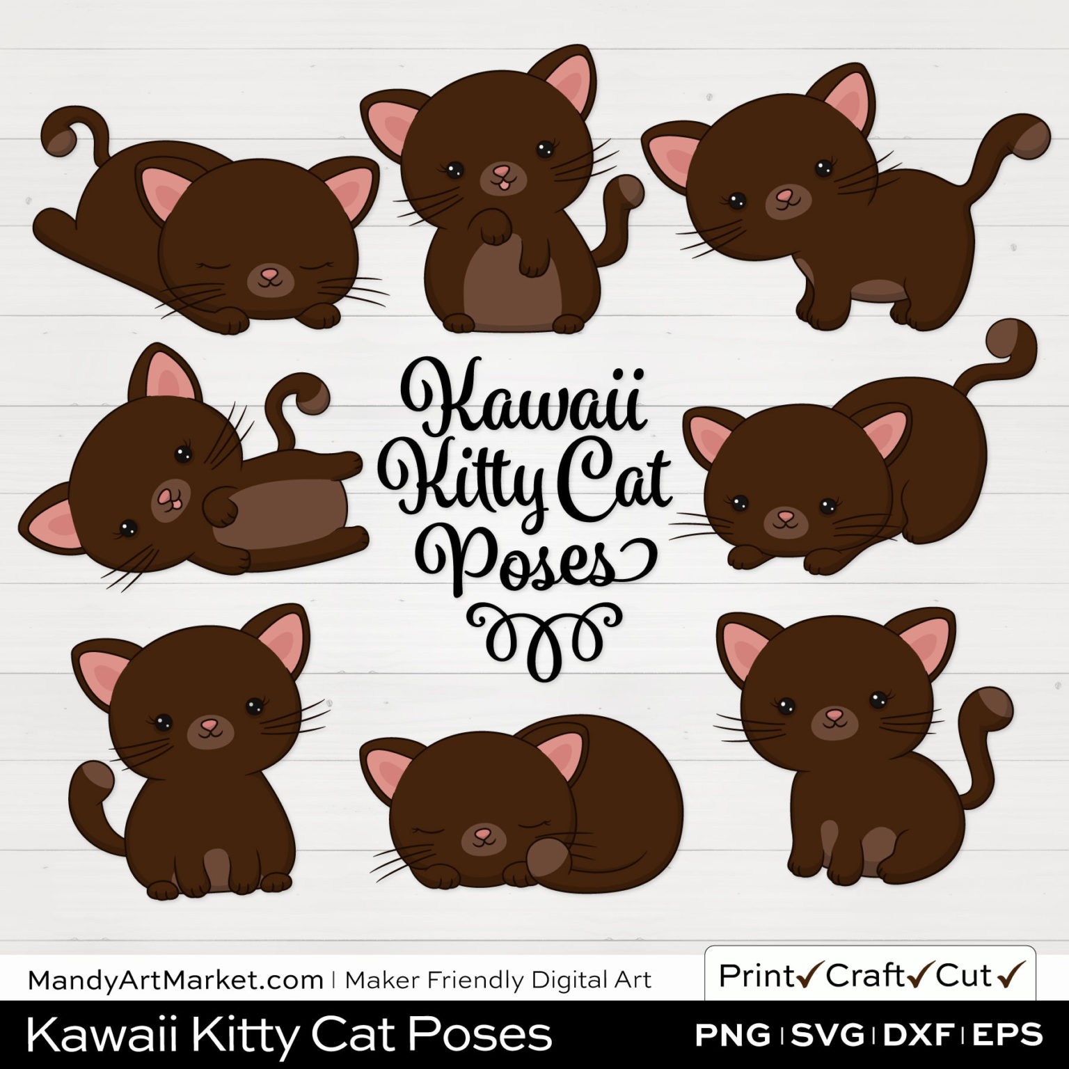 Chocolate Brown Kawaii Kitty Cat Poses Clipart on White Background