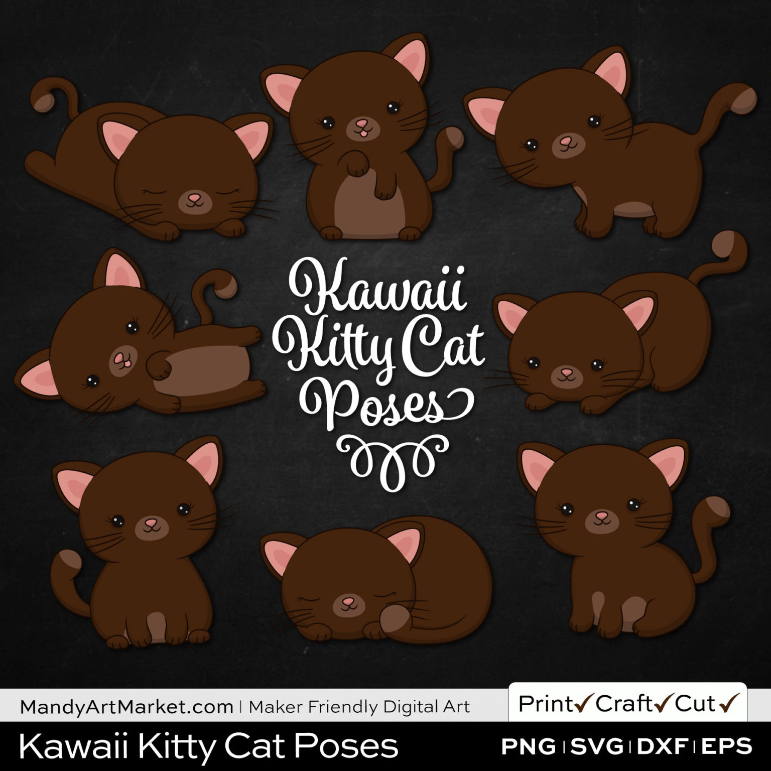 Chocolate Brown Kawaii Kitty Cat Poses Clipart on Black Background