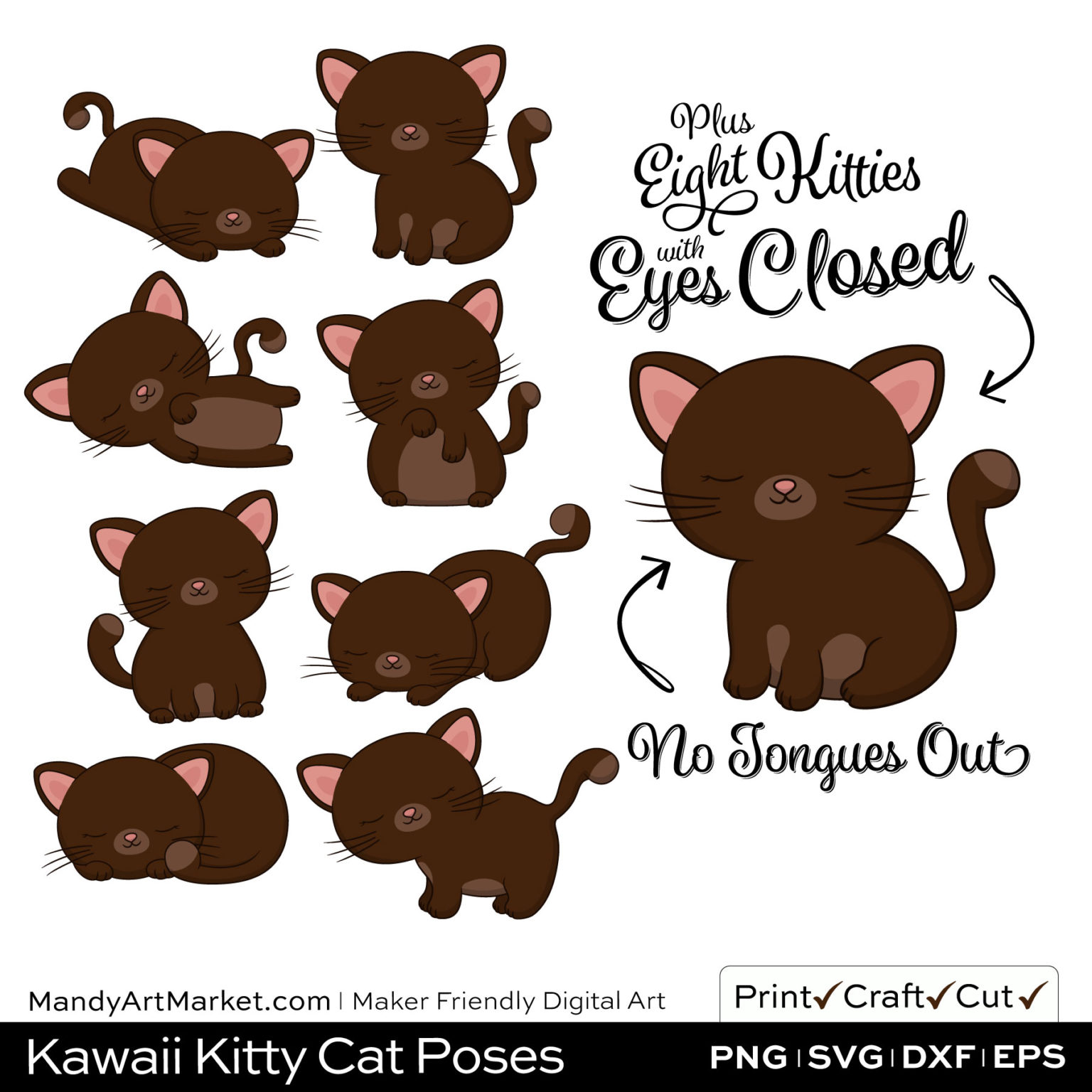 Chocolate Brown Kawaii Kitty Cat Poses Clipart PNGs Included in Download
