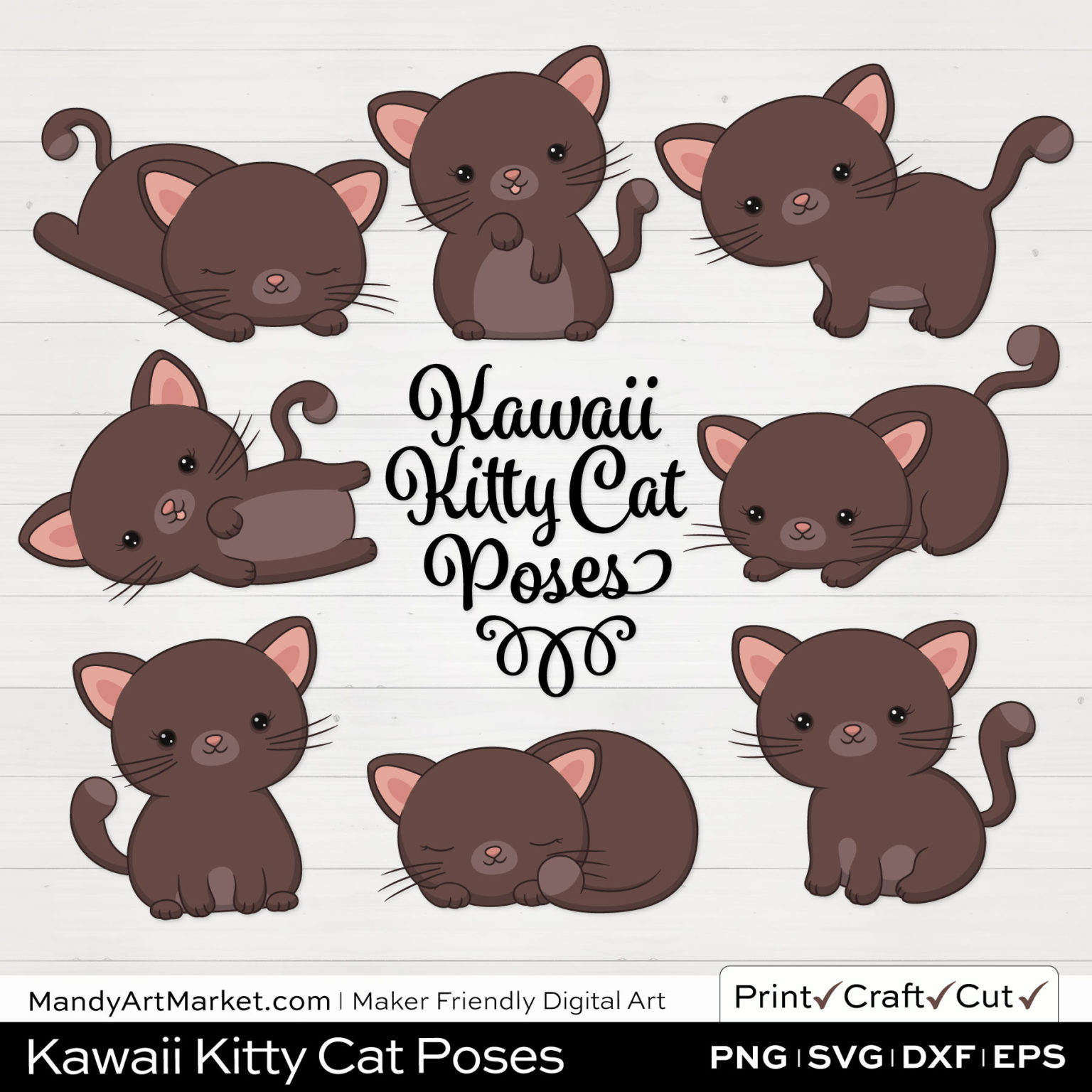 Cocoa Brown Kawaii Kitty Cat Poses Clipart on White Background