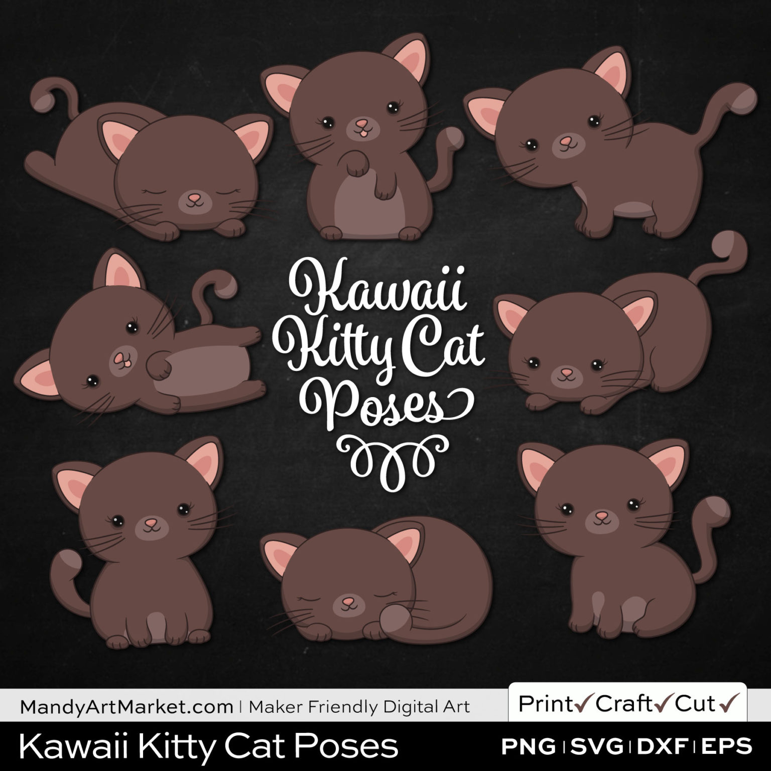 Cocoa Brown Kawaii Kitty Cat Poses Clipart on Black Background