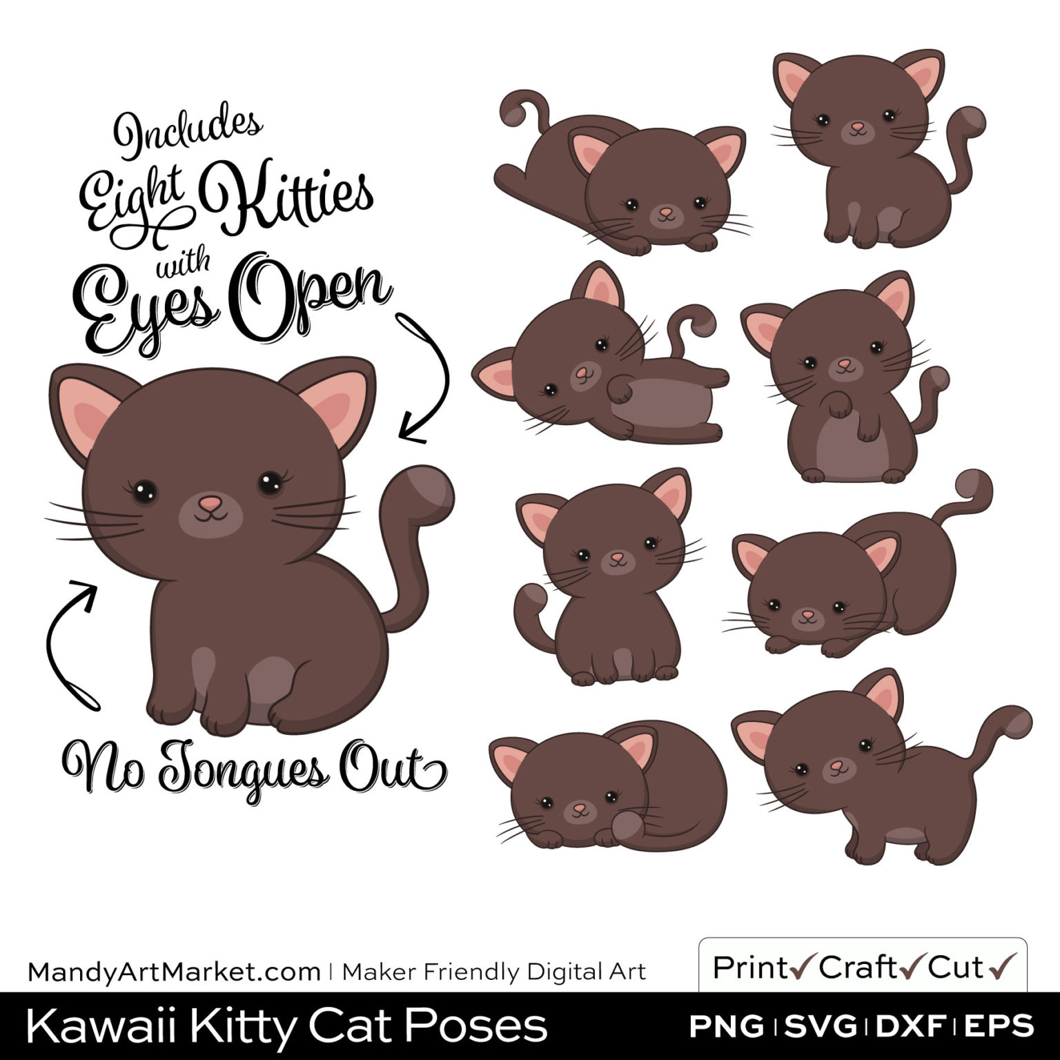 Cocoa Brown Kawaii Kitty Cat Poses Clipart on Wood Background