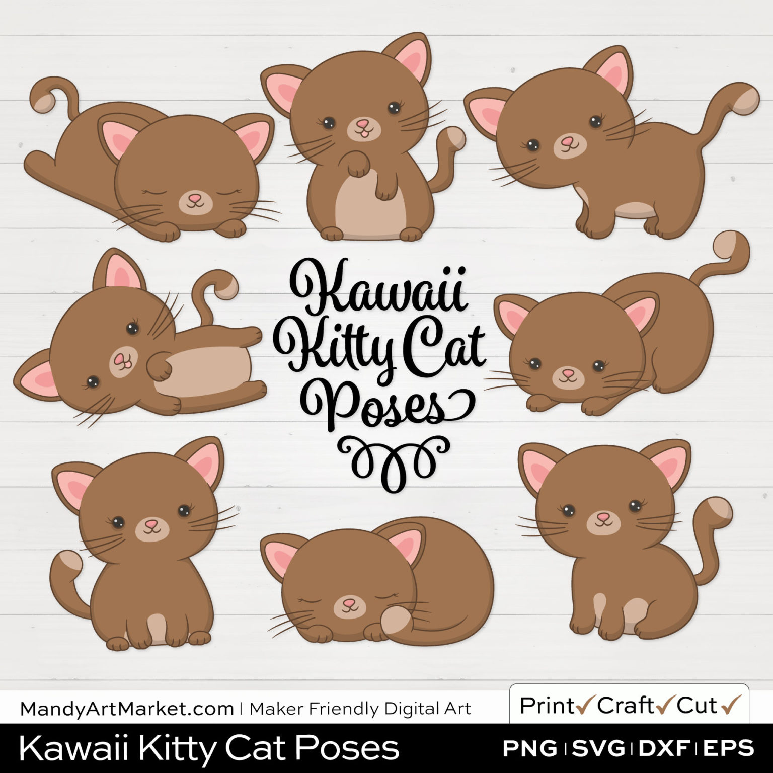 Coffee Brown Kawaii Kitty Cat Poses Clipart on White Background