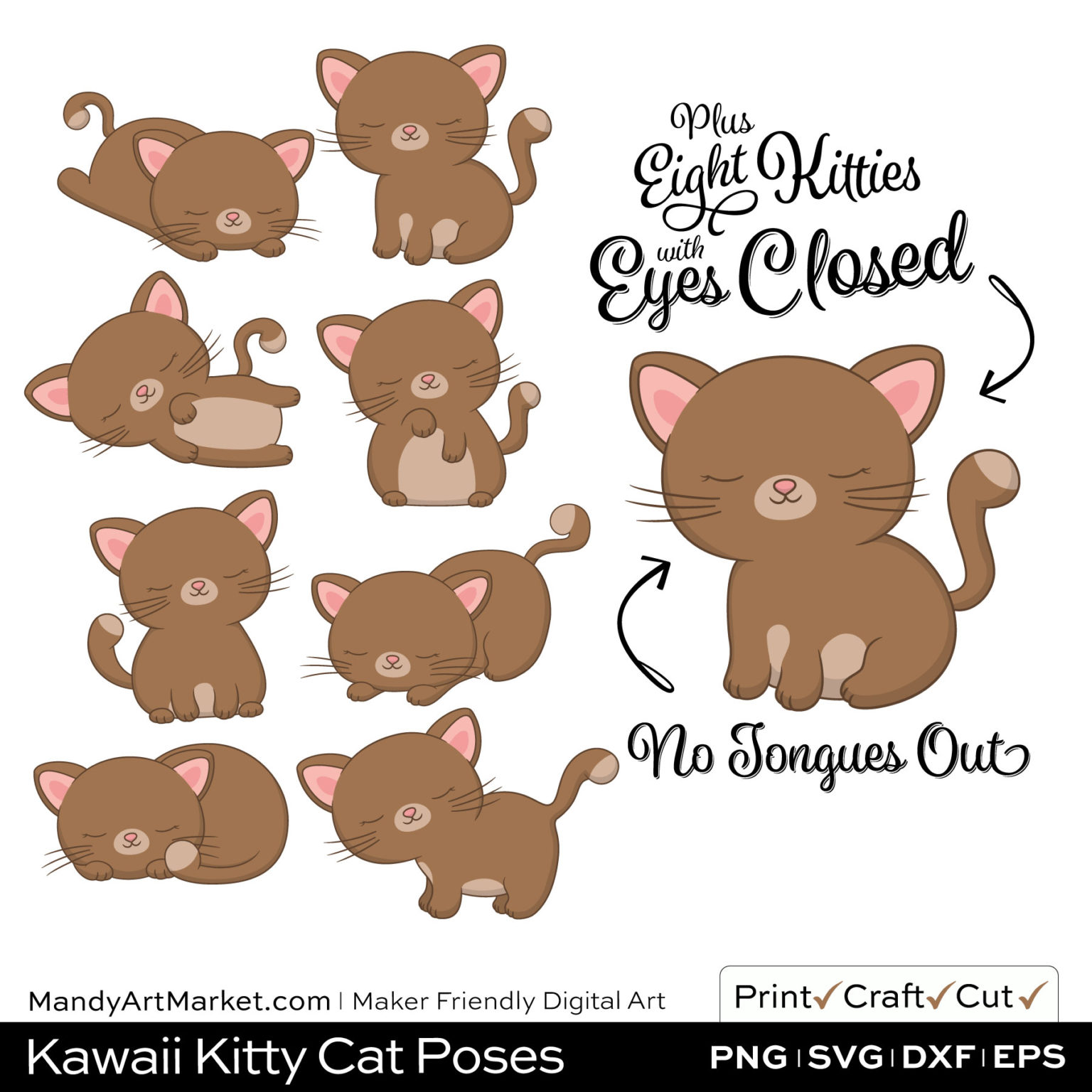 Coffee Brown Kawaii Kitty Cat Poses Clipart PNGs Included in Download