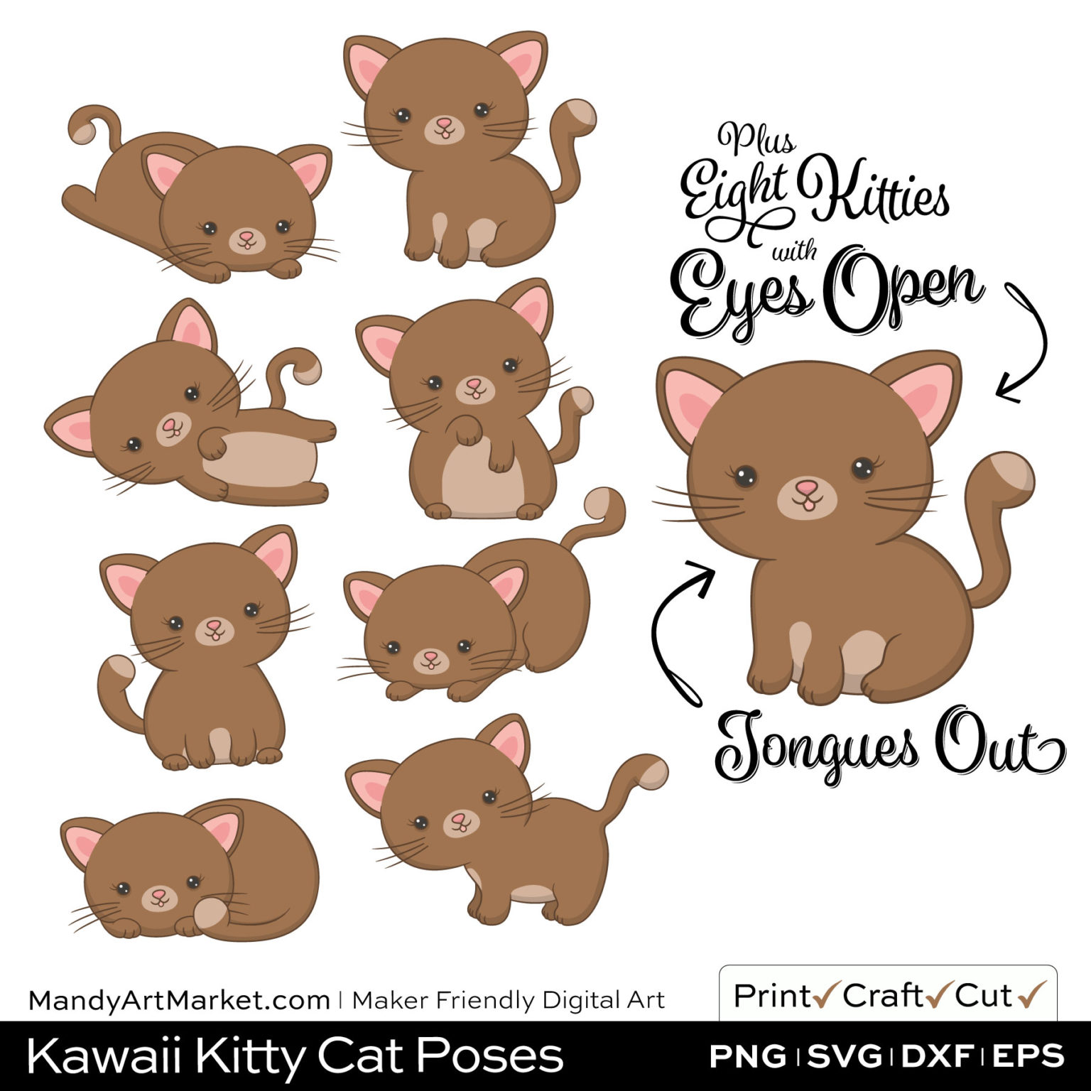 Coffee Brown Kawaii Kitty Cat Poses Clipart Examples