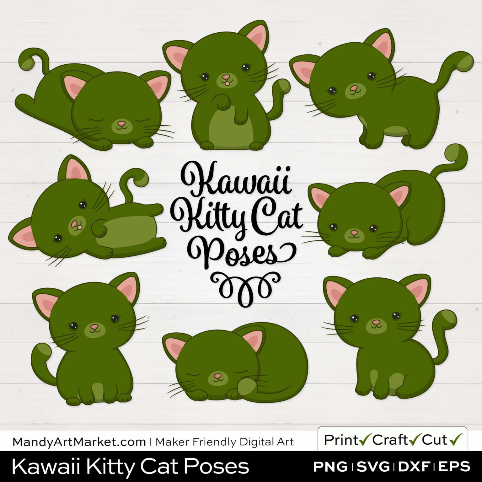 Dark Moss Green Kawaii Kitty Cat Poses Clipart on White Background