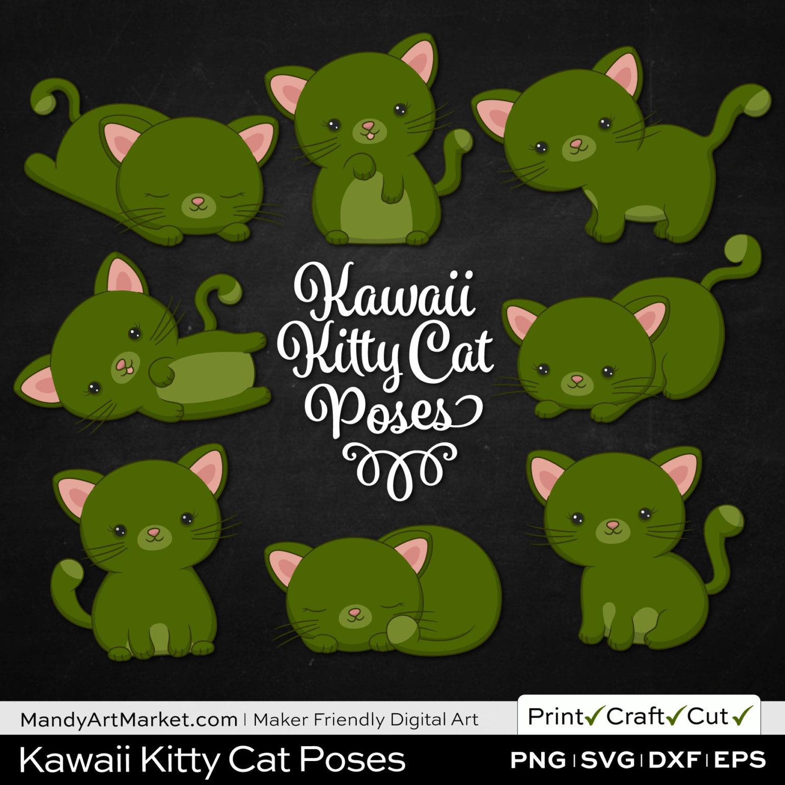 Dark Moss Green Kawaii Kitty Cat Poses Clipart on Black Background