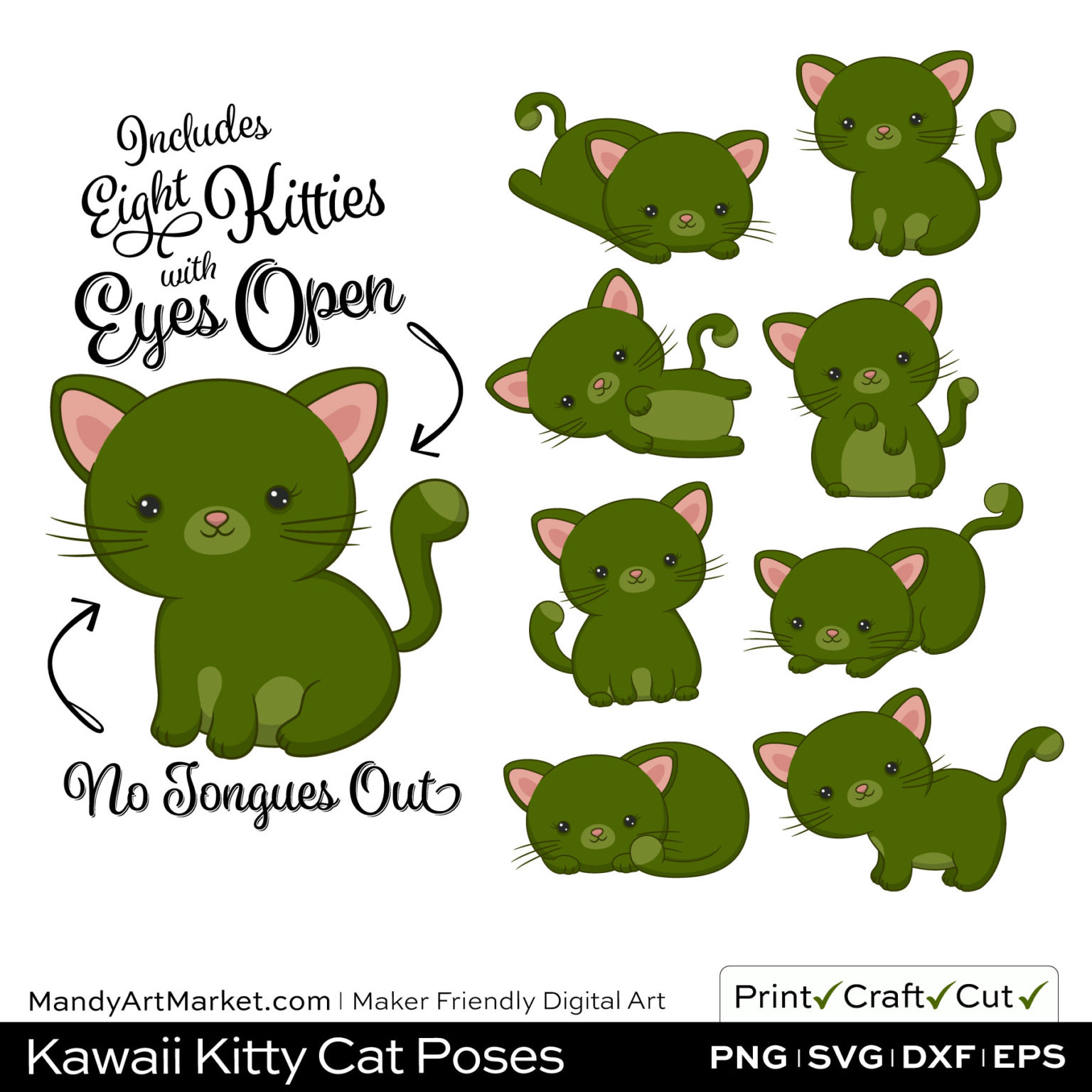 Dark Moss Green Kawaii Kitty Cat Poses Clipart on Wood Background