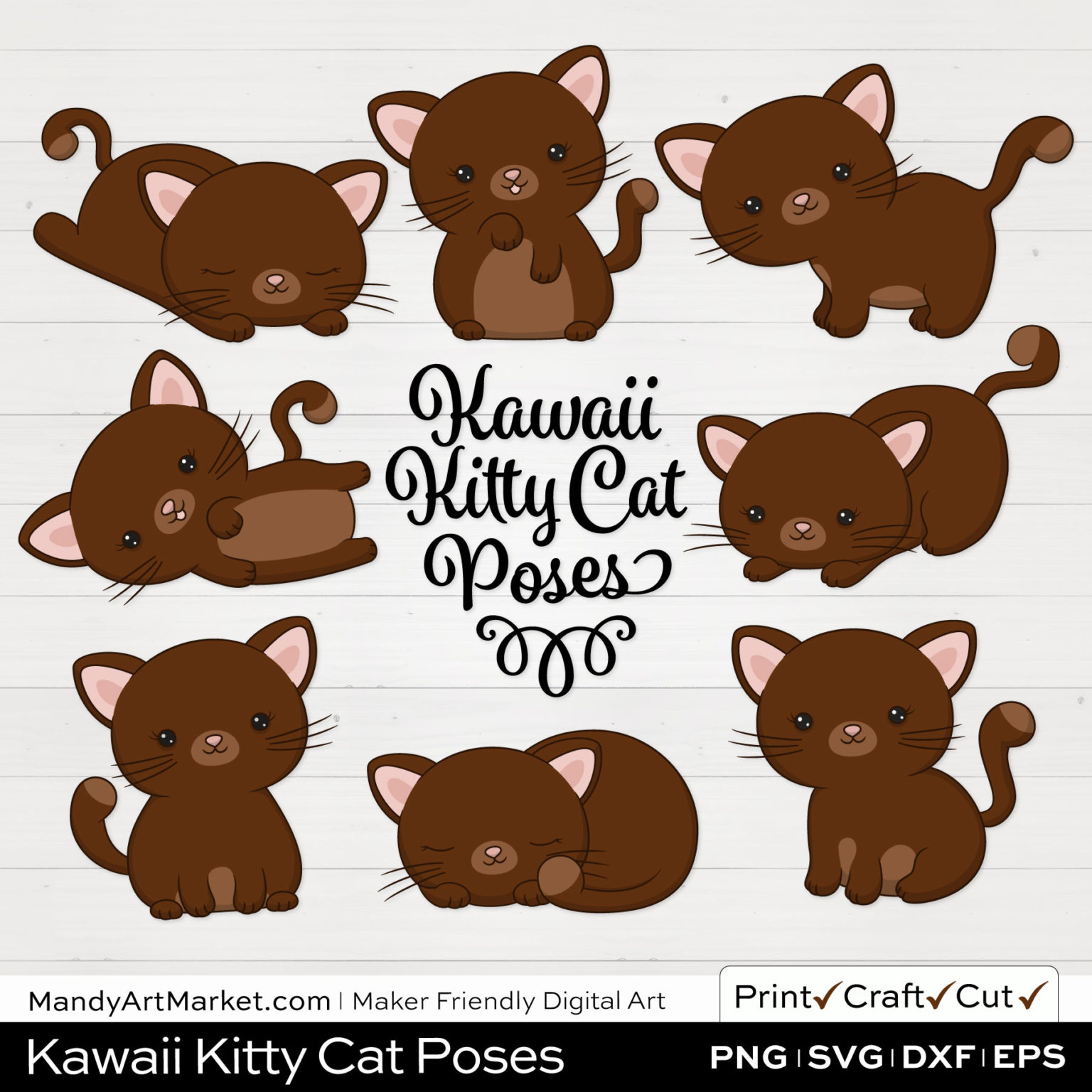 Dark Pecan Brown Kawaii Kitty Cat Poses Clipart on White Background