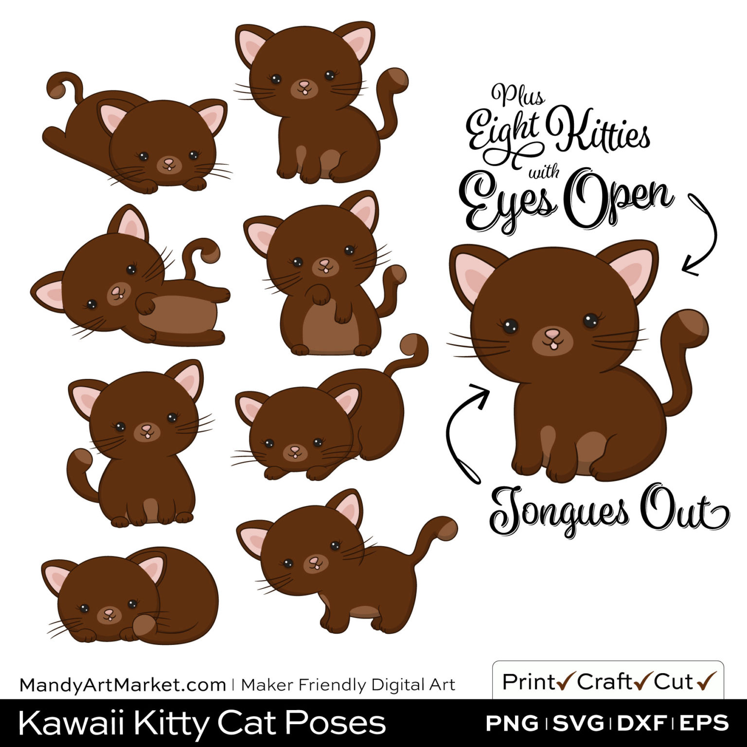 Dark Pecan Brown Kawaii Kitty Cat Poses Clipart Examples