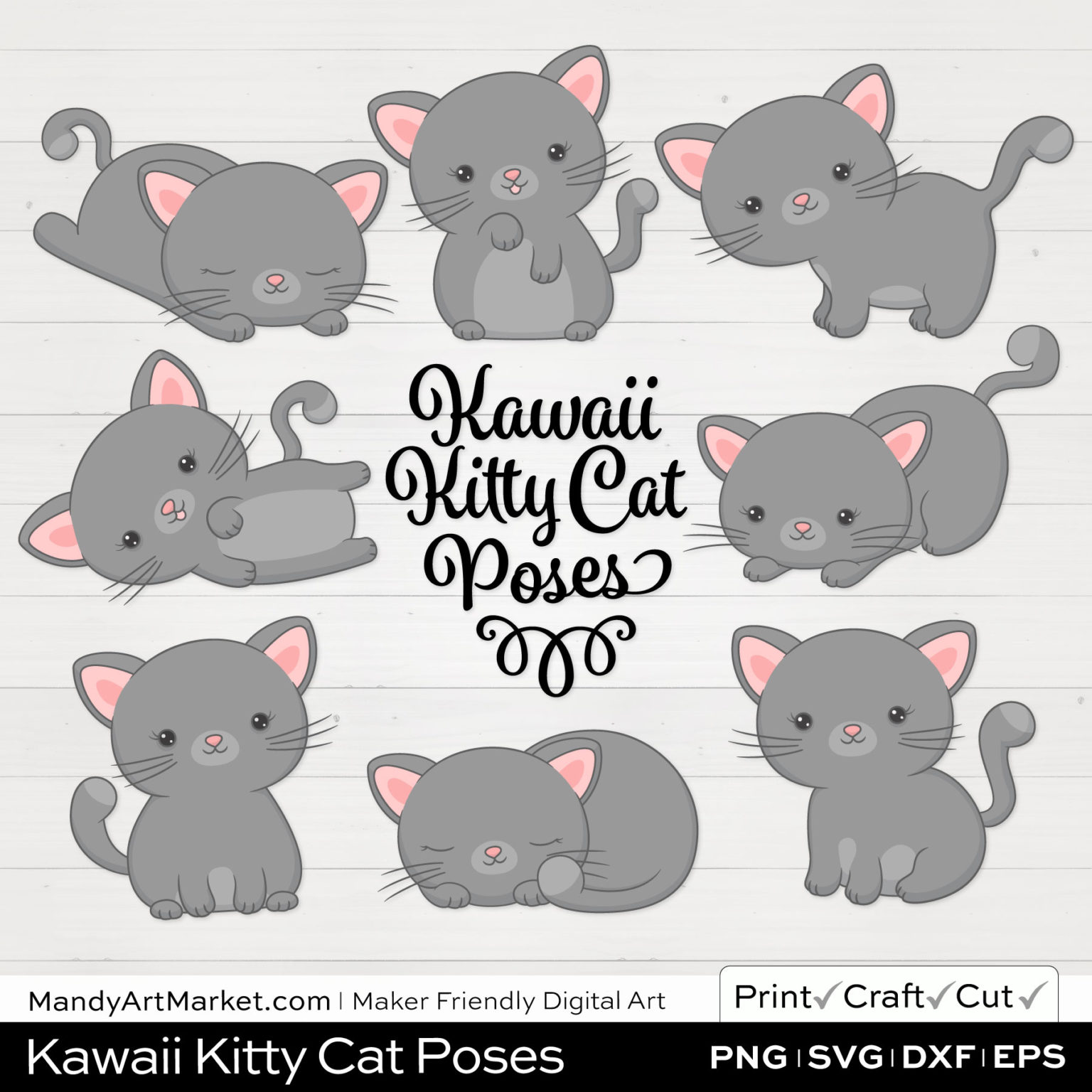 Dolphin Gray Kawaii Kitty Cat Poses Clipart on White Background
