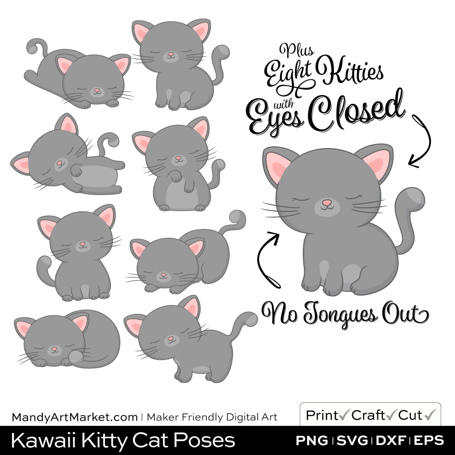 Dolphin Gray Kawaii Kitty Cat Poses Clipart PNGs Included in Download