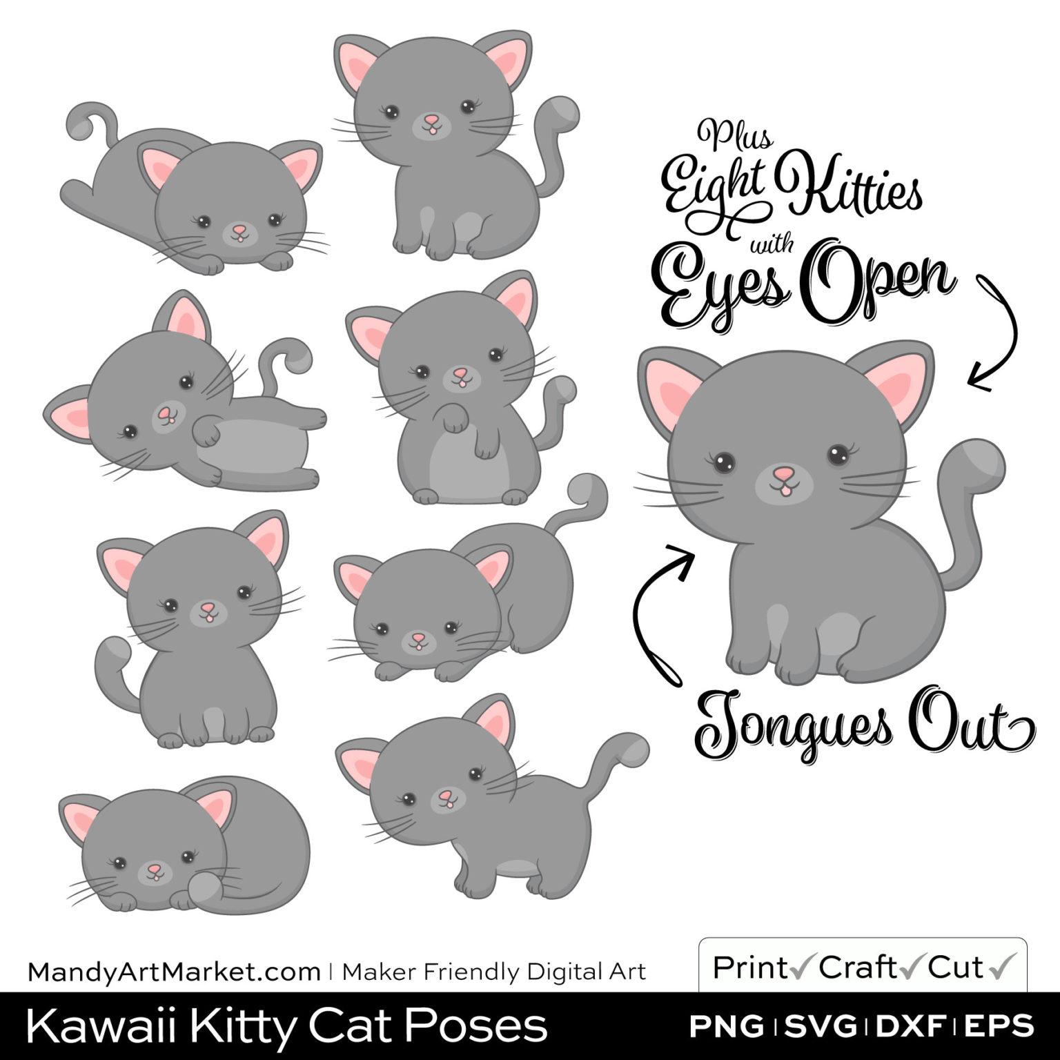 Dolphin Gray Kawaii Kitty Cat Poses Clipart Examples