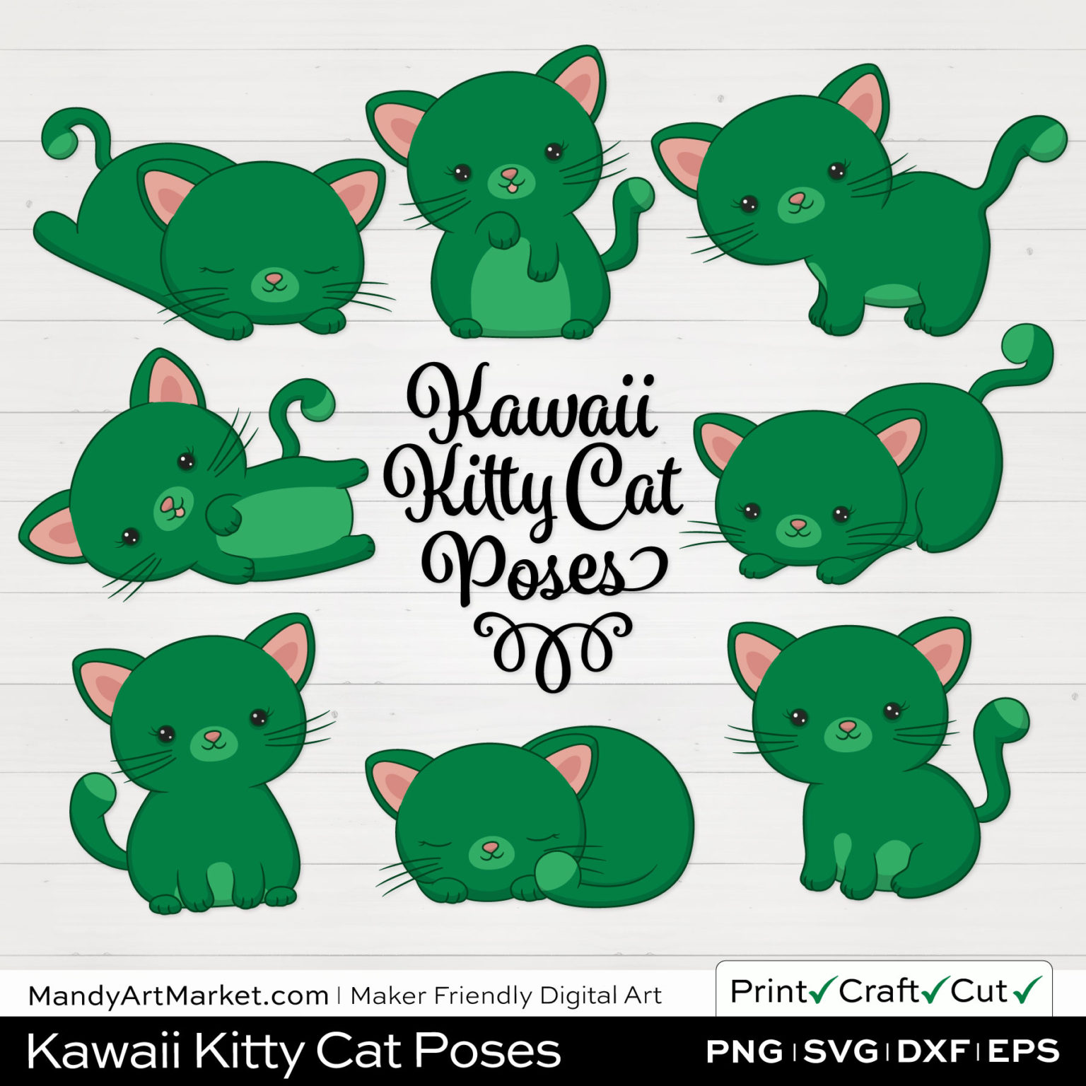 Emerald Green Kawaii Kitty Cat Poses Clipart on White Background