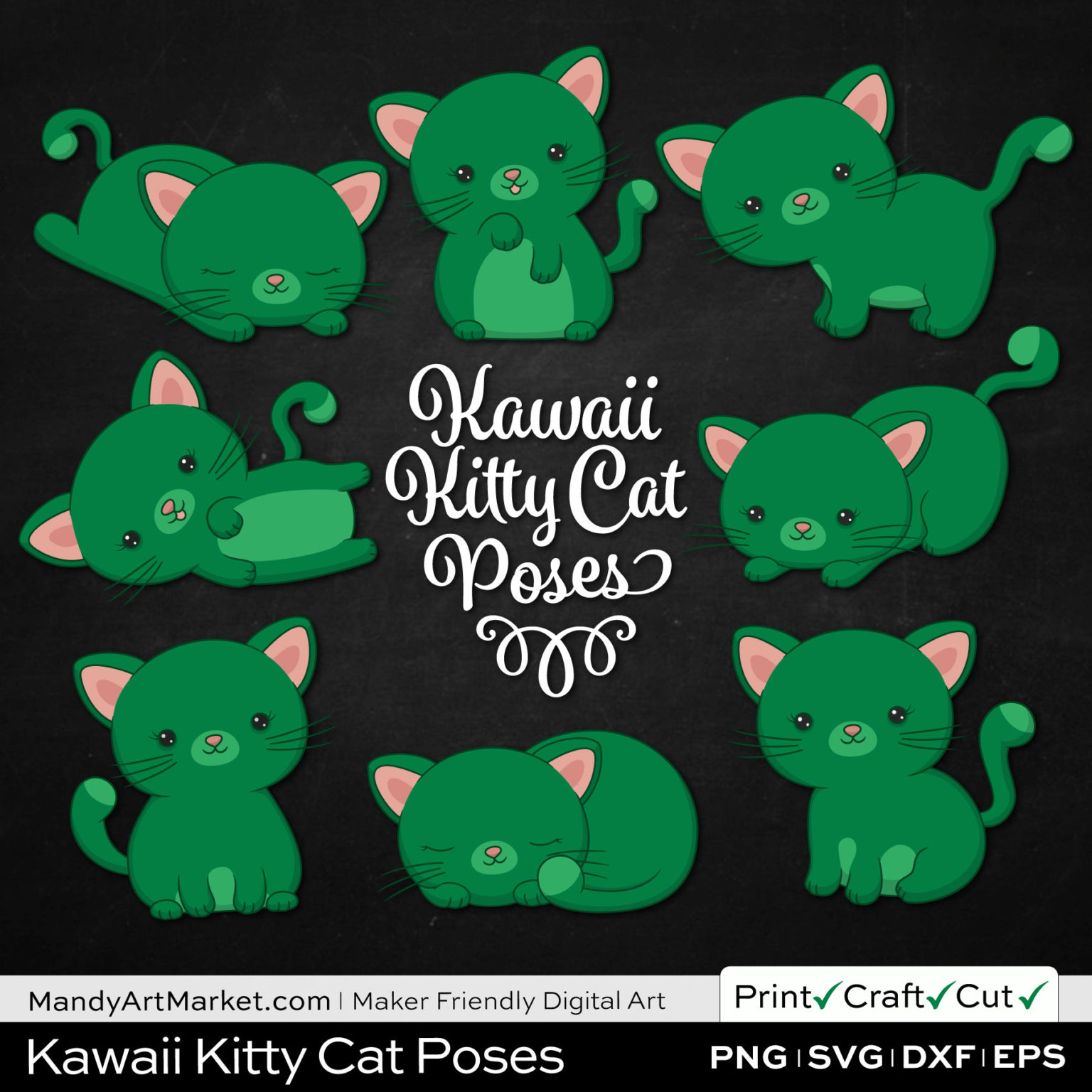 Emerald Green Kawaii Kitty Cat Poses Clipart on Black Background