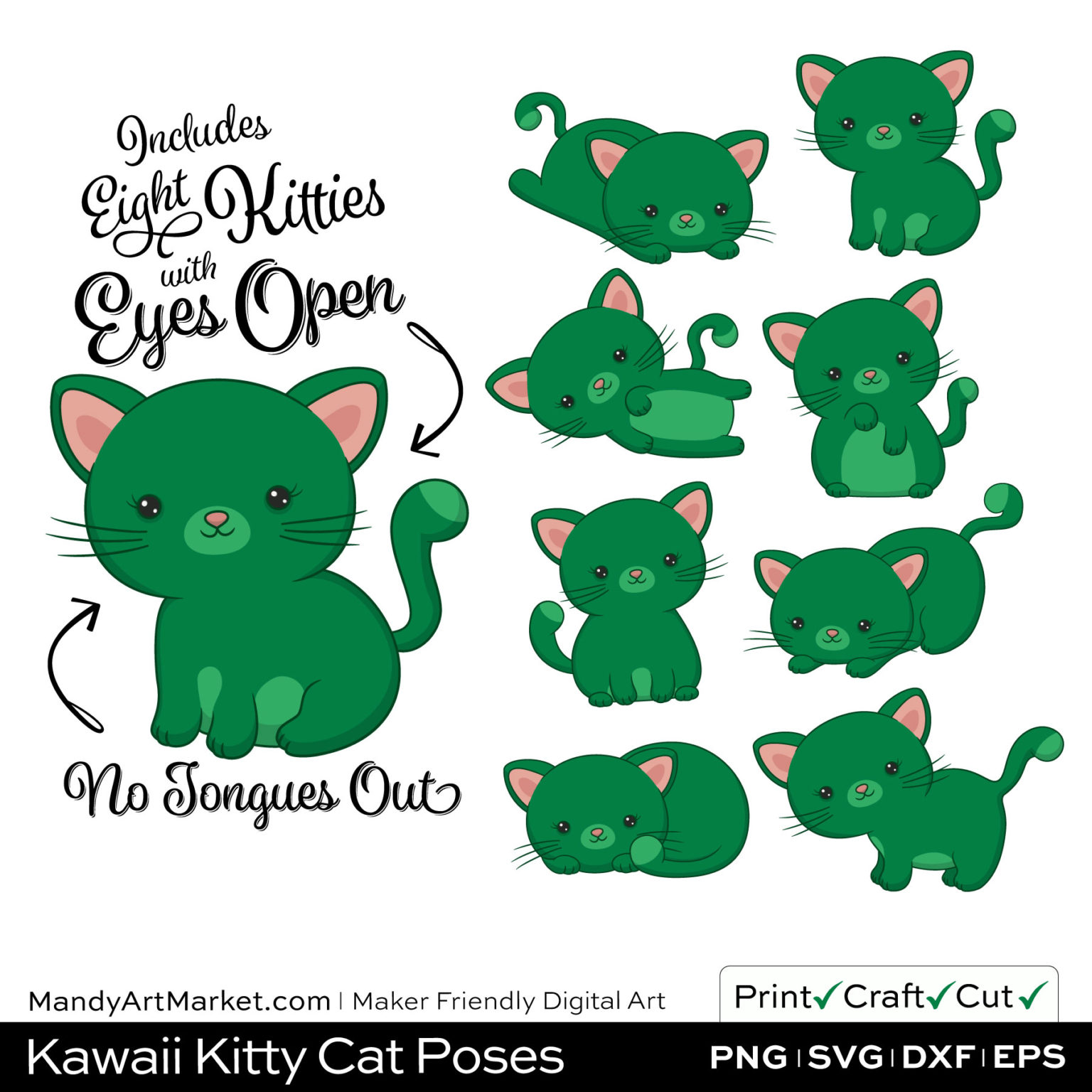 Emerald Green Kawaii Kitty Cat Poses Clipart on Wood Background
