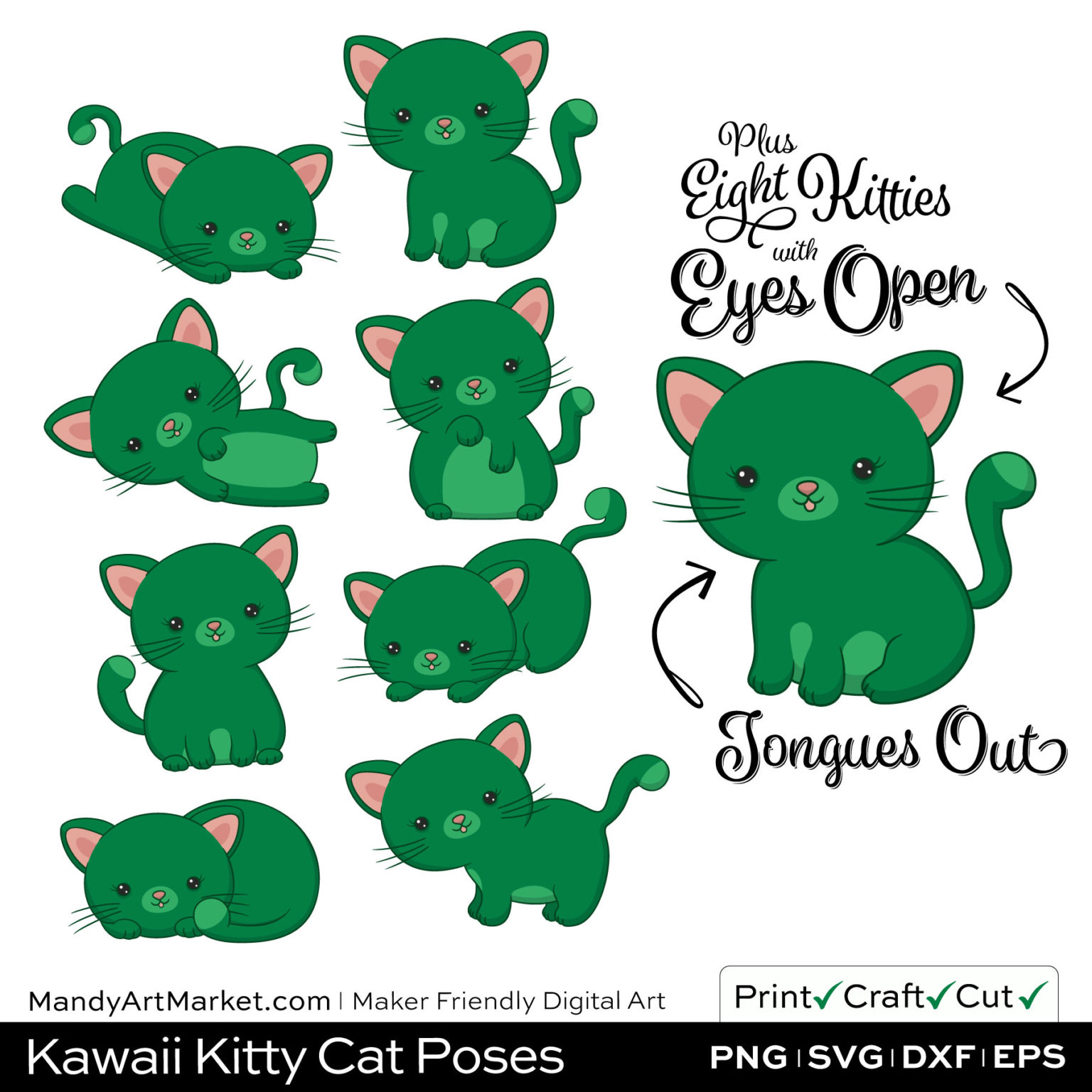 Emerald Green Kawaii Kitty Cat Poses Clipart Examples