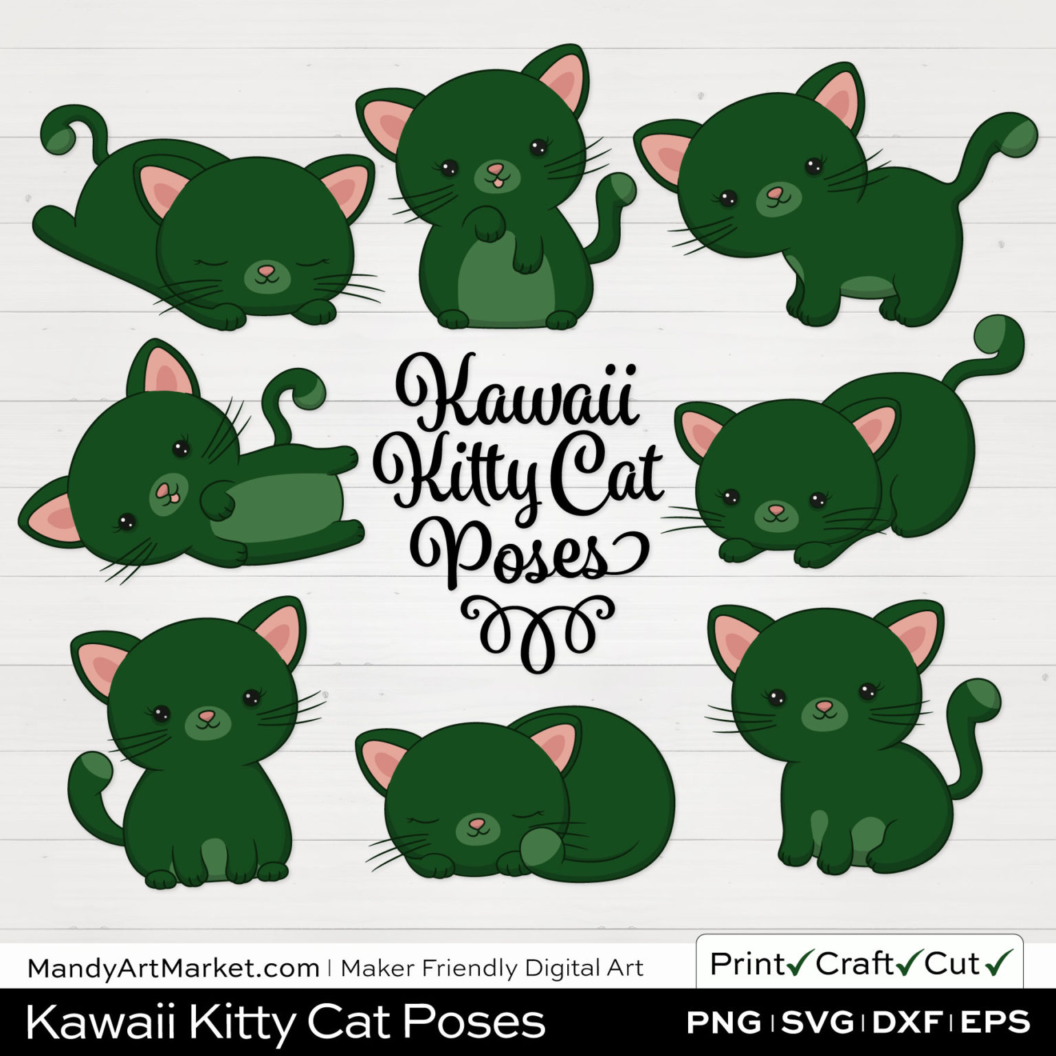 Forest Green Kawaii Kitty Cat Poses Clipart on White Background
