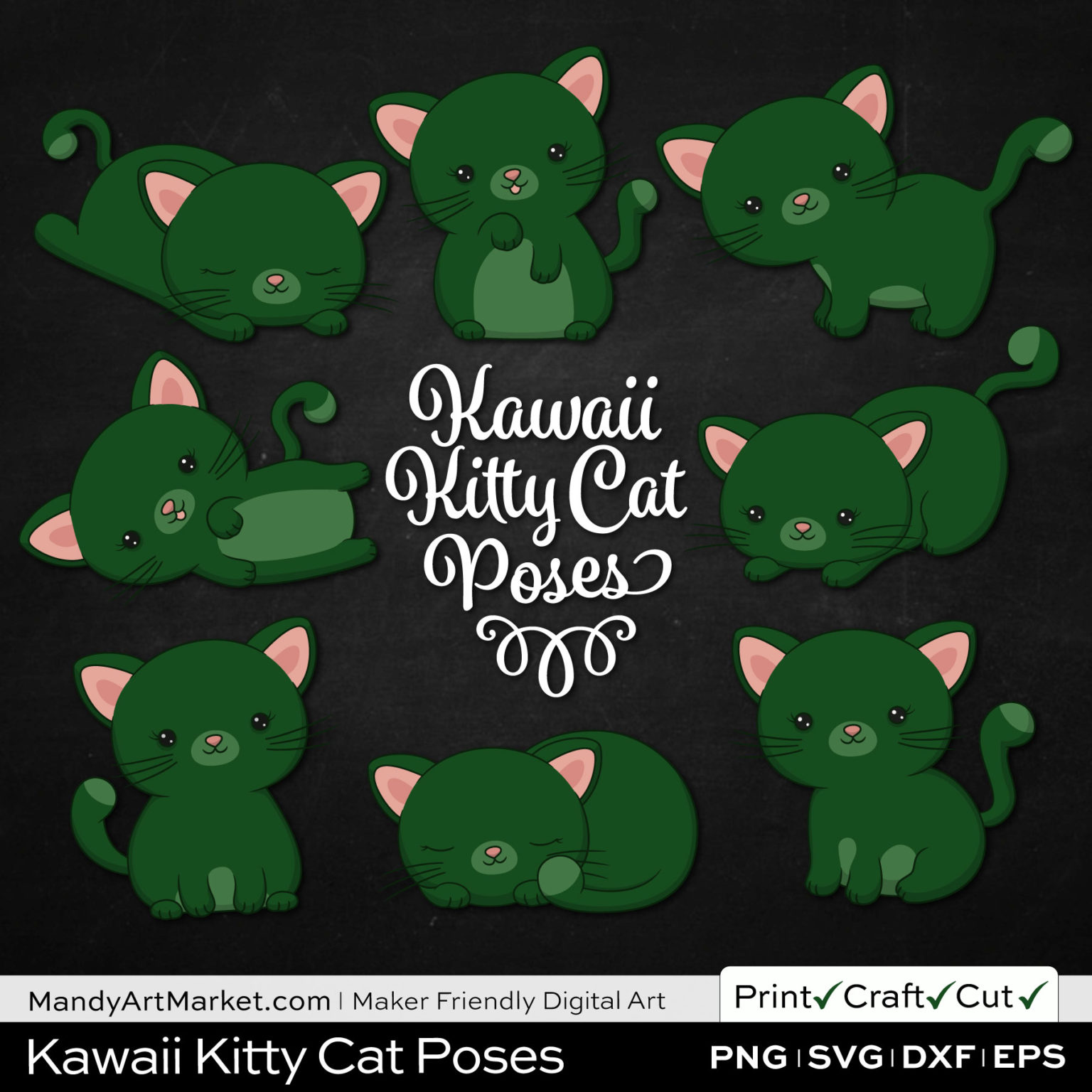 Forest Green Kawaii Kitty Cat Poses Clipart on Black Background